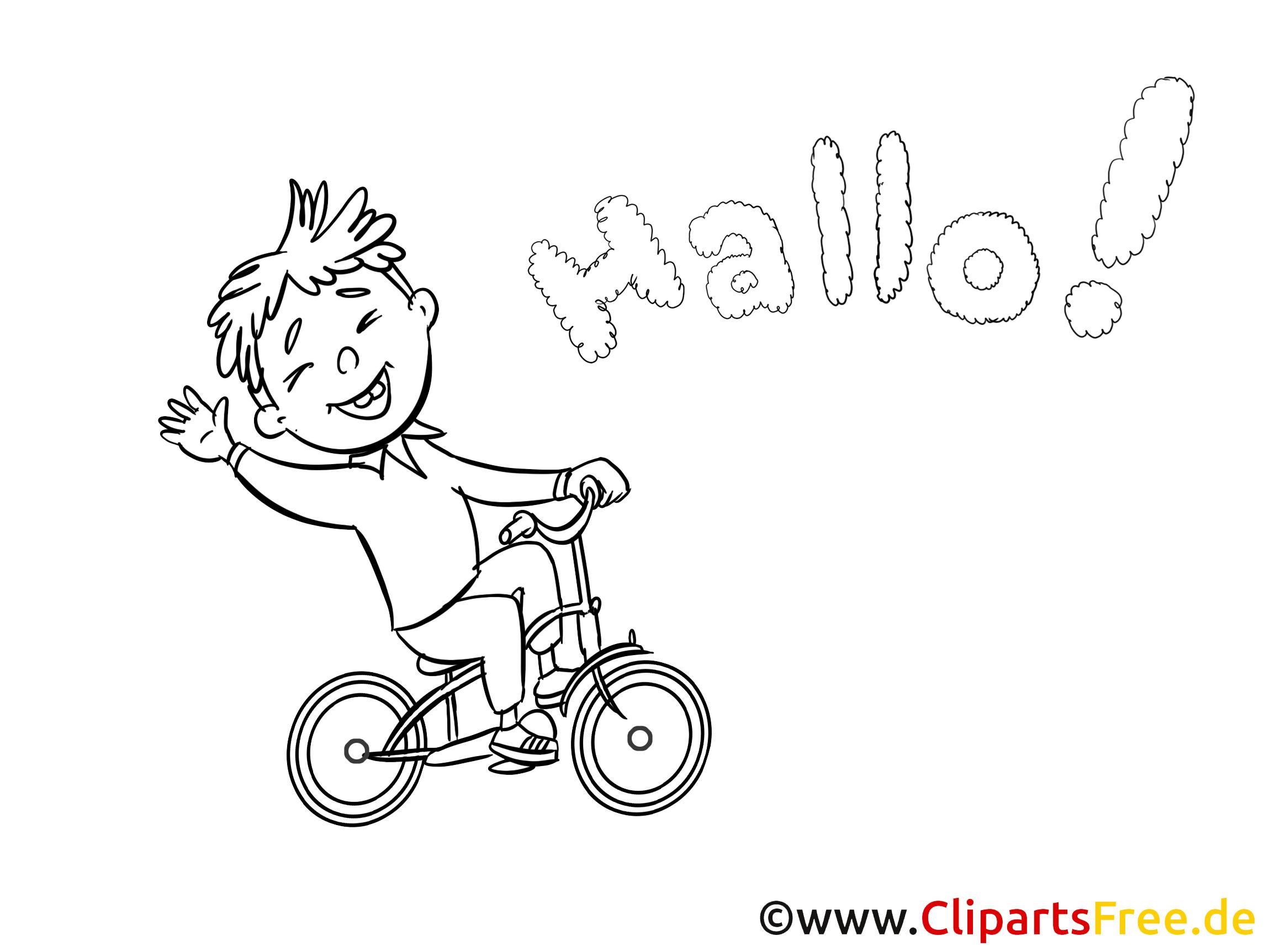 junge auf dem fahrrad - bild zum ausmalen hallo