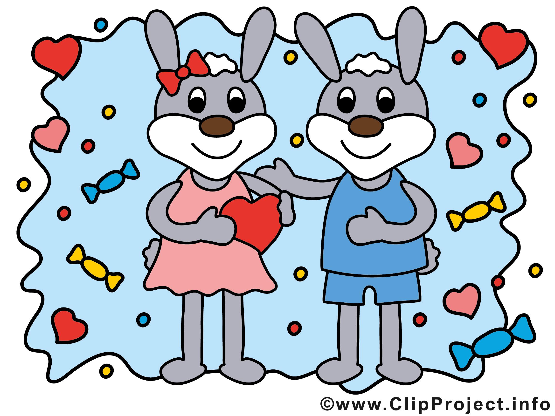 Bilder für Verliebte - Zwei niedliche Hasen