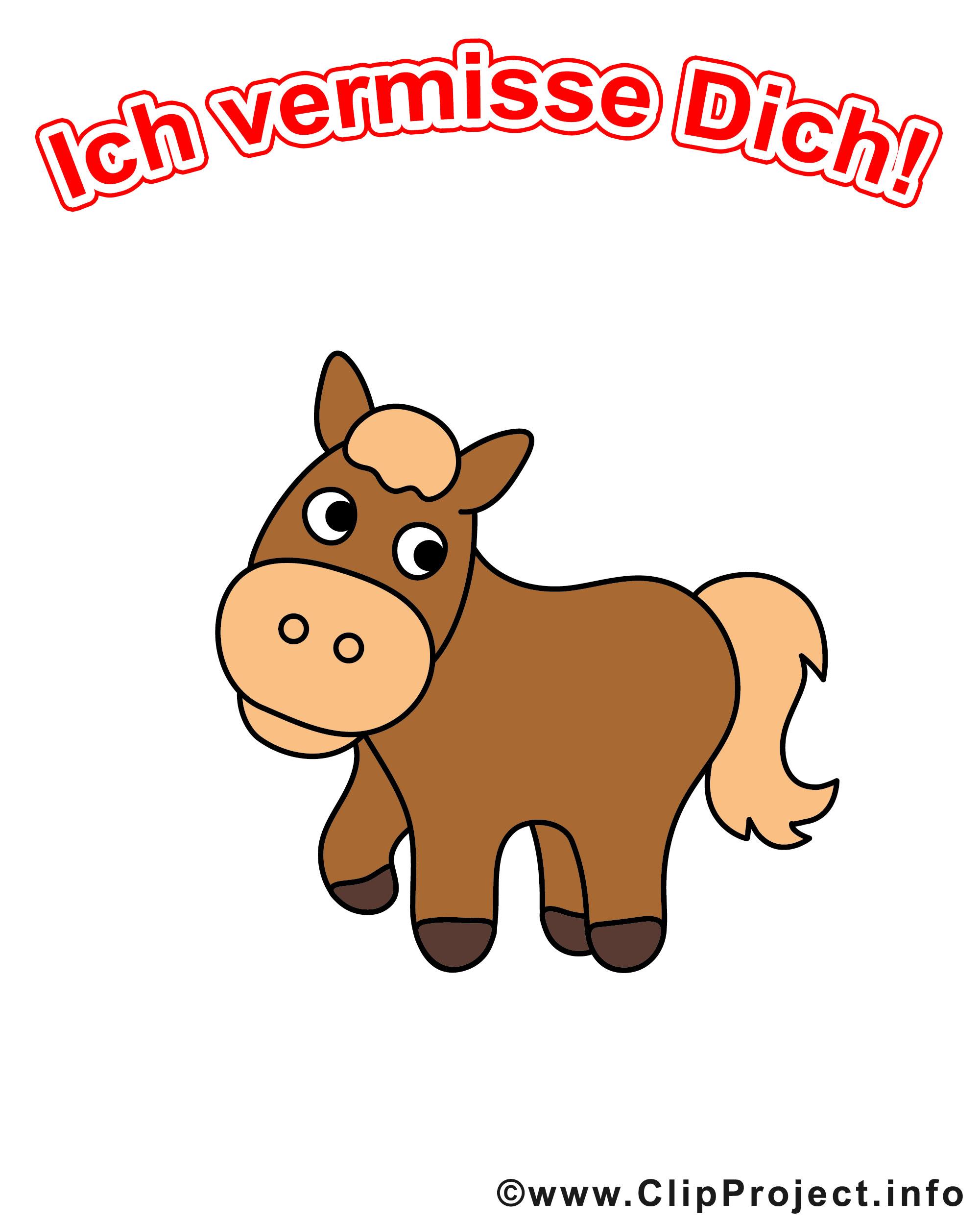 Vermisse Dich Clipart mit schönem Pony-Pferd