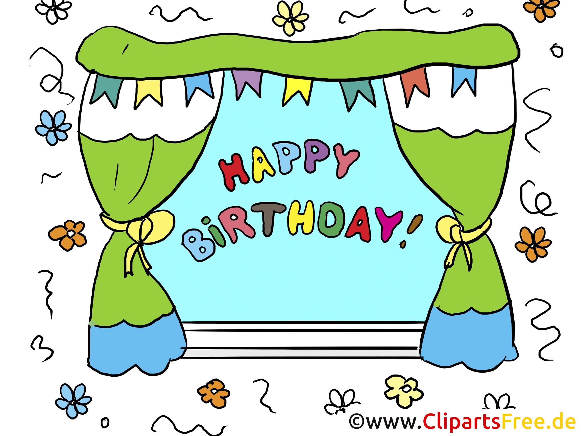 Clipart Happy Birthday Text im Fenster