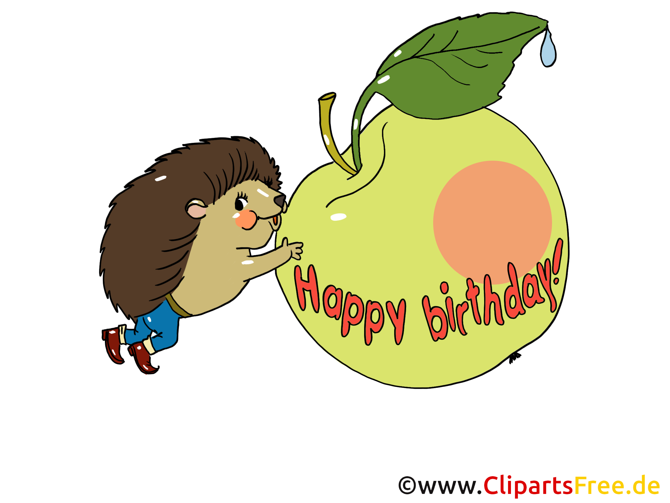 Clip Art Hedgehog and Apple
