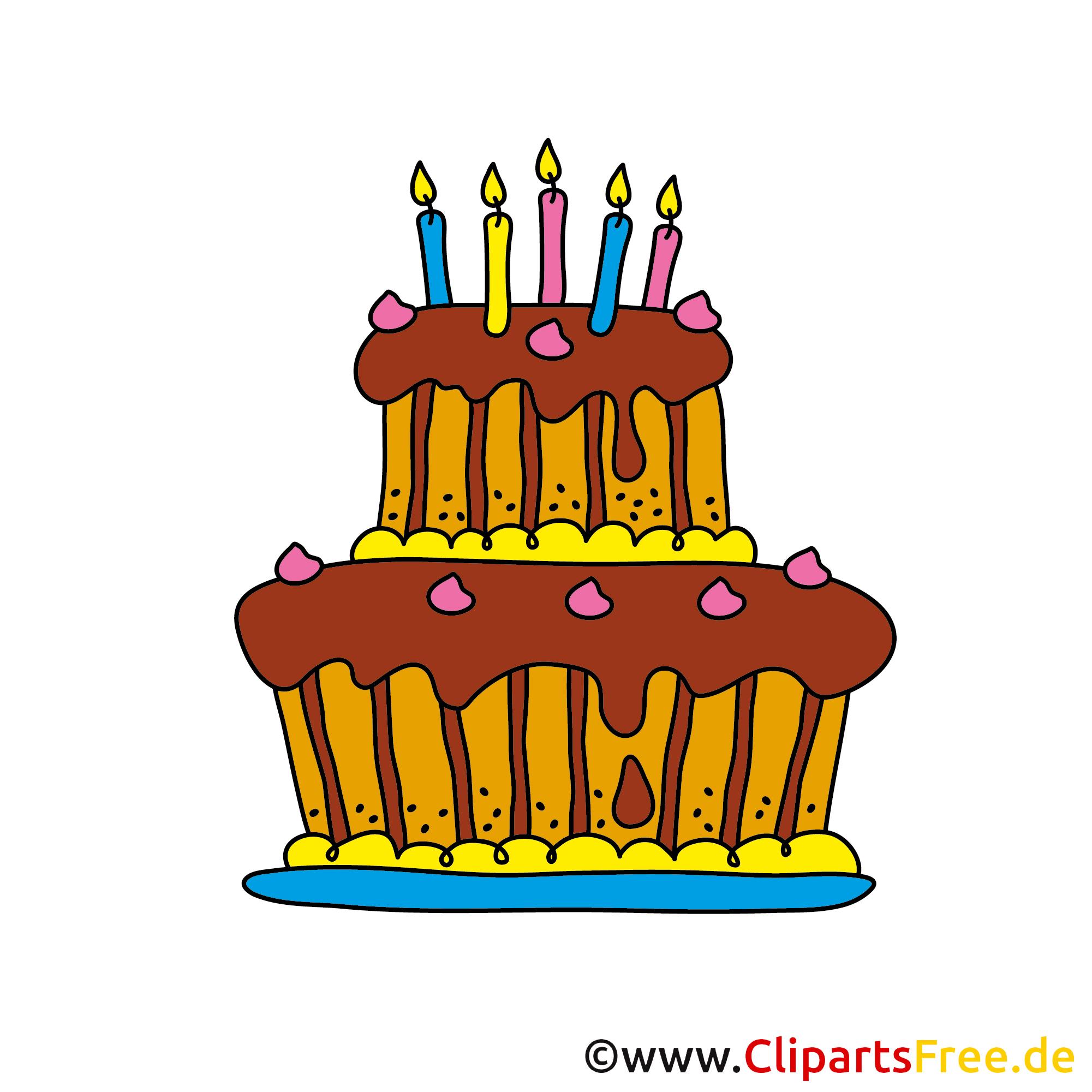 Clip Art zum Geburtstag - Geburtstagstorte Cartoon