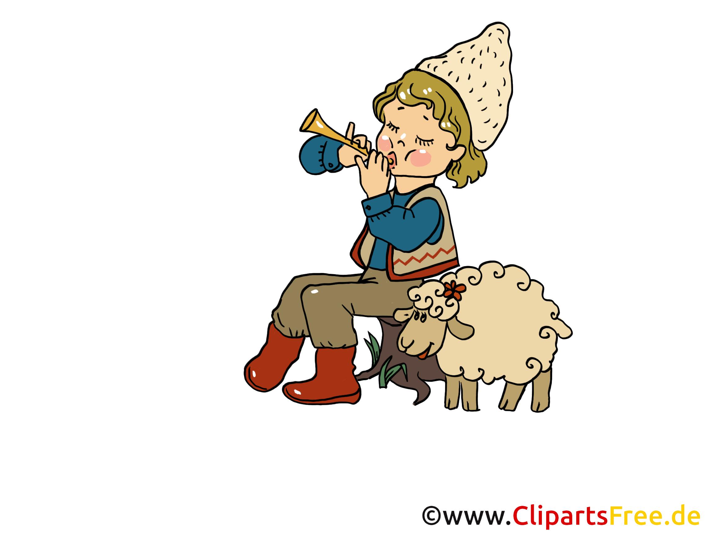 Clipart Hirte mit Schaf