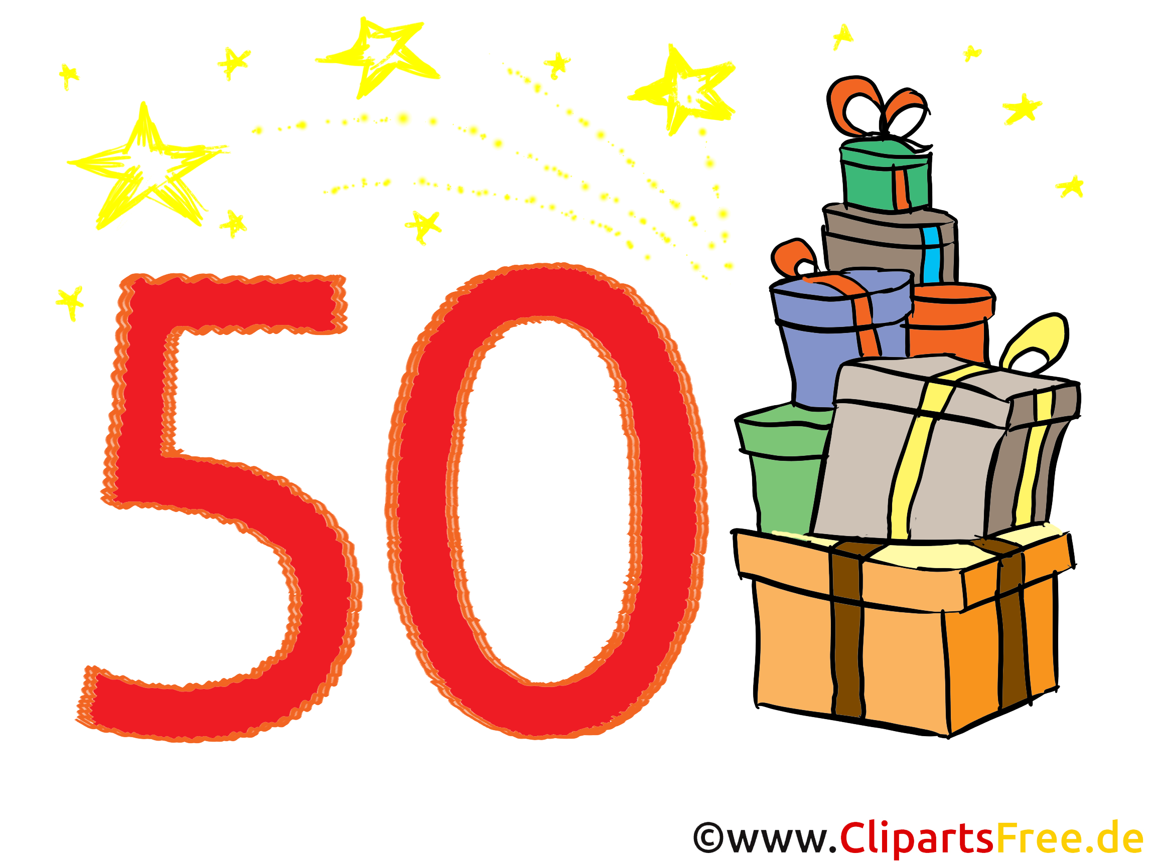 Geburtstagswünsche zum 50 - Clipart, Bild, Glückwunschkarte