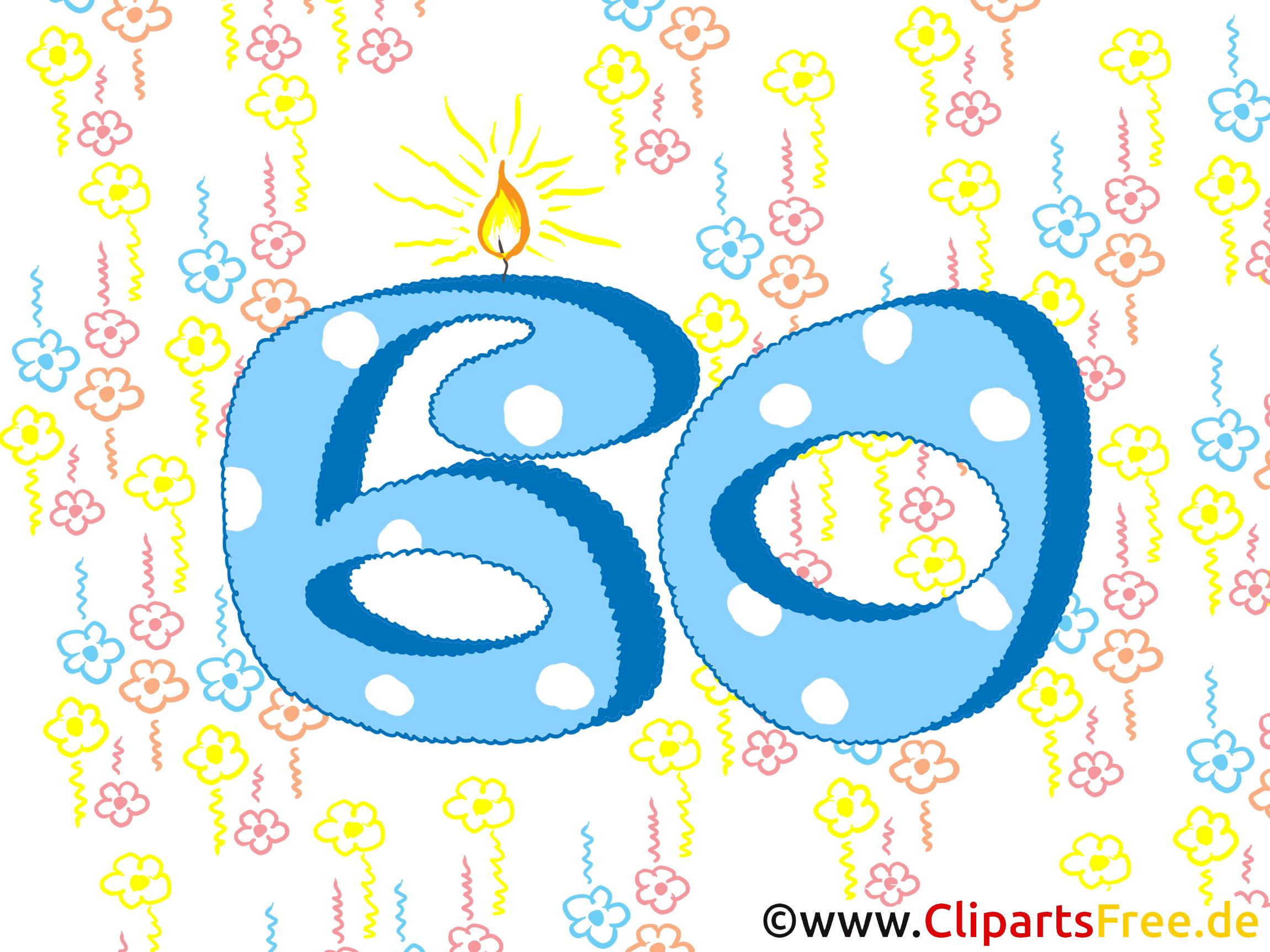 Geburtstagswünsche zum 60 - Glückwunschkarte gratis