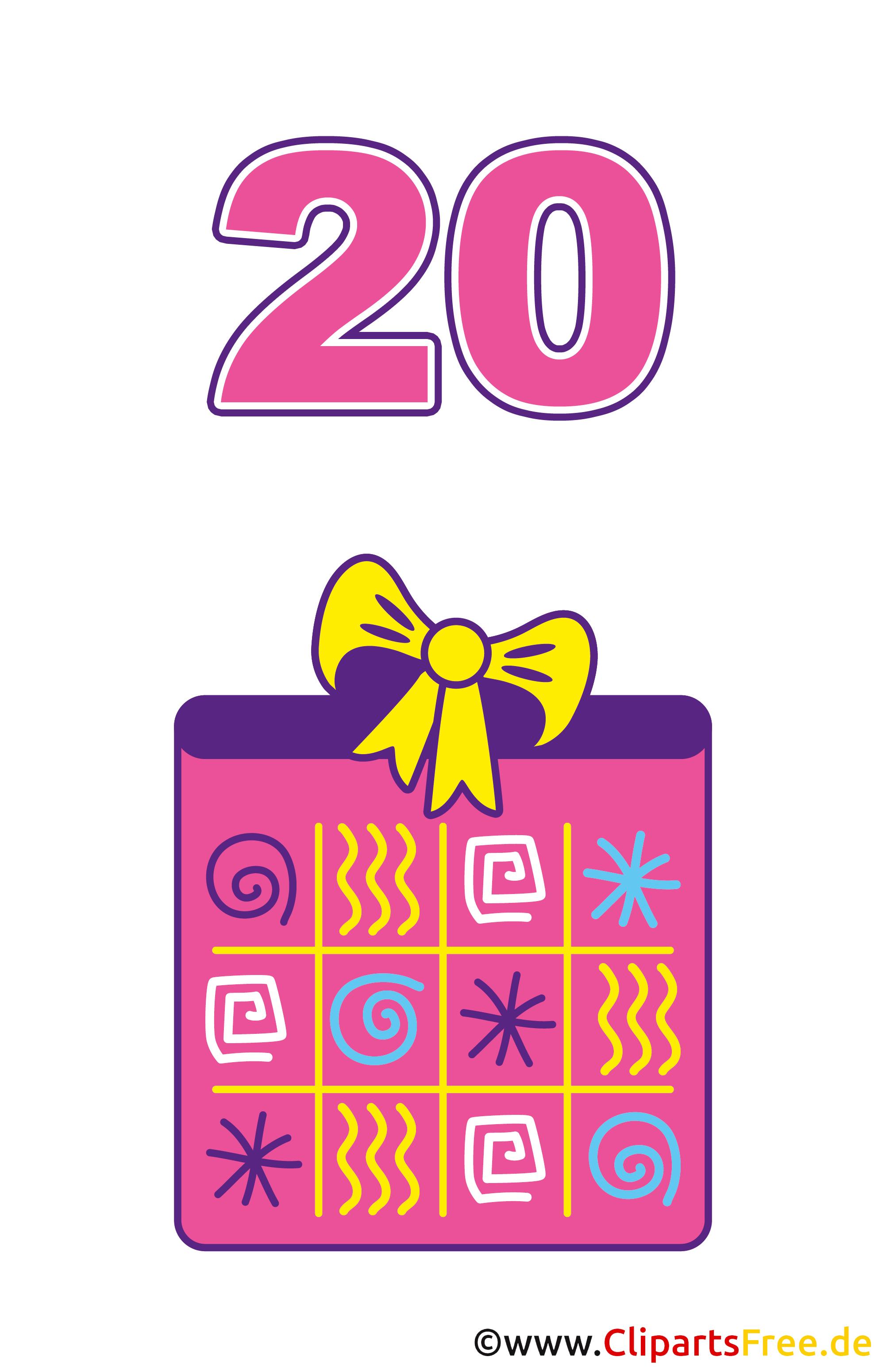 Geschenk zum 20 Geburtstag Clipart gratis