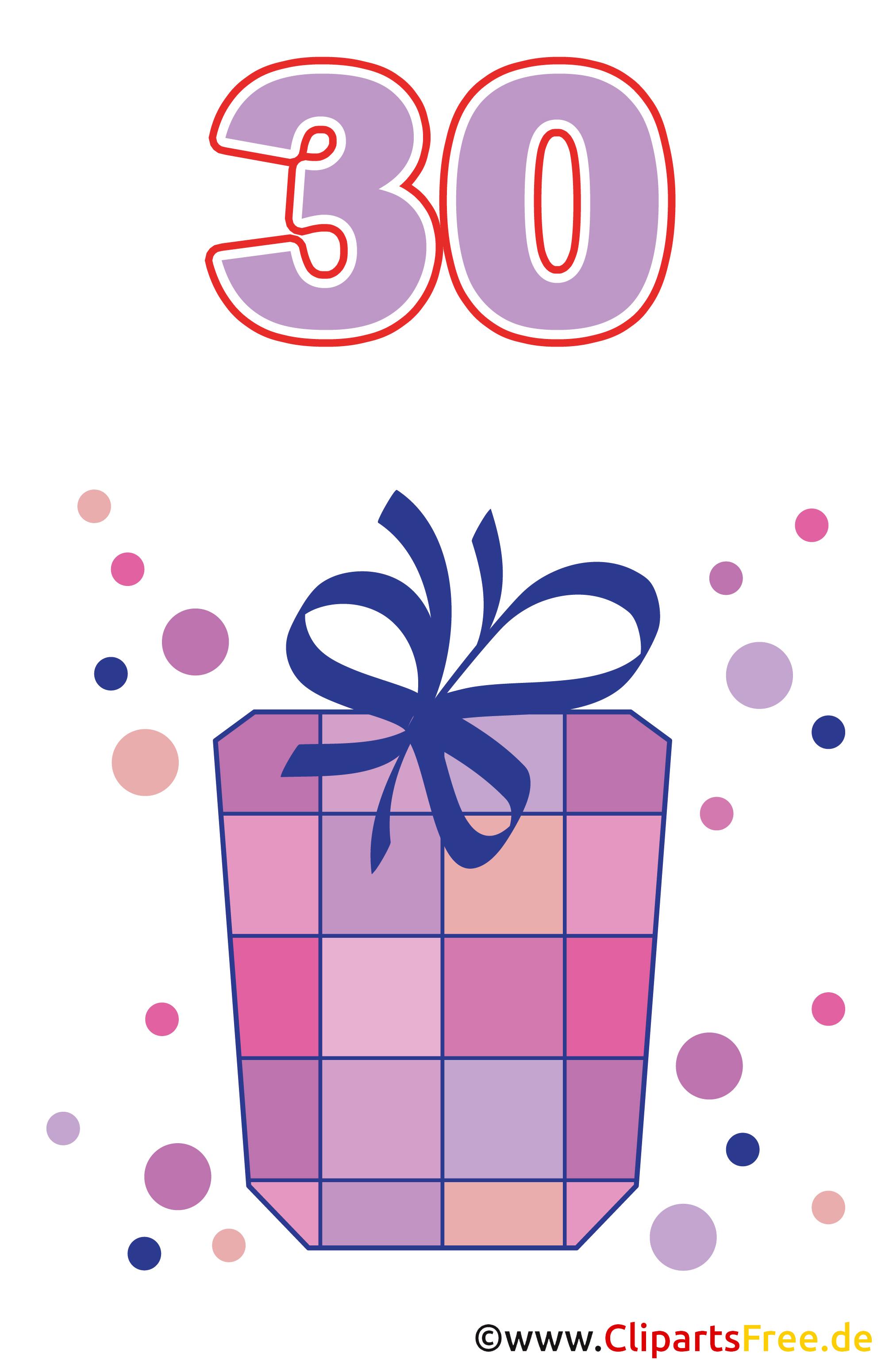 Geschenk zum 30 Geburtstag Clipart gratis