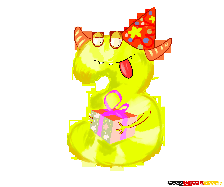 Monster Clipart 3 (Drei) lustige Vorlage für Geburtstag