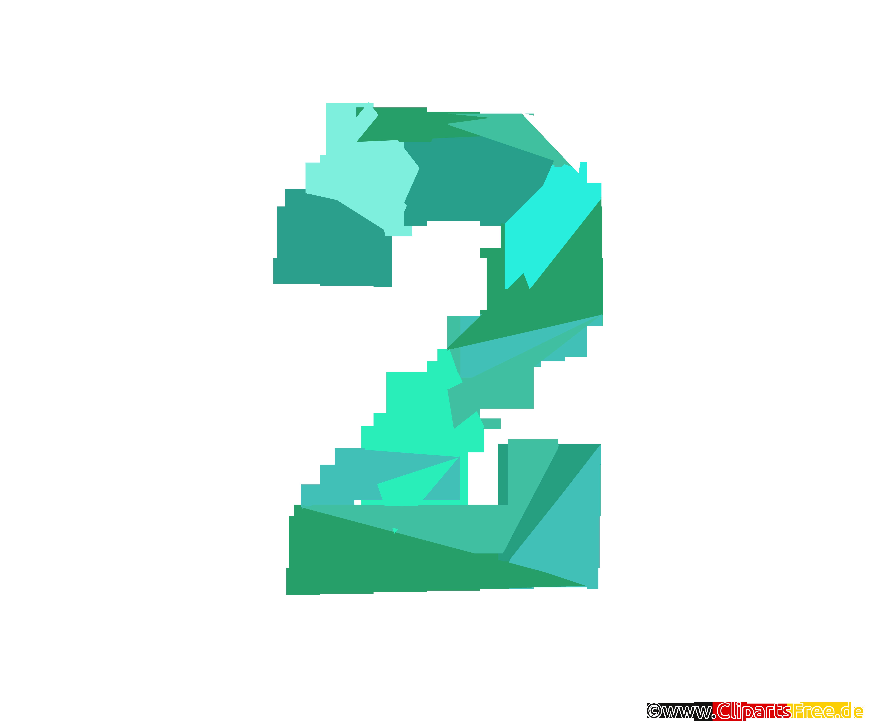 Vorlage Zahl 2 (Zwei) - Zahlenbilder zum Drucken