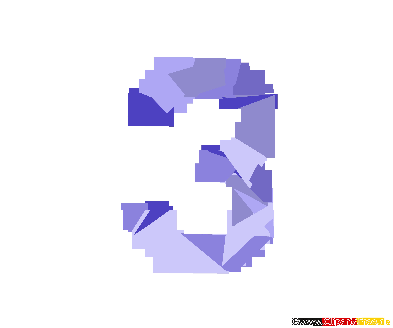 Vorlage Zahl 3 (Drei) Zahlencliparts