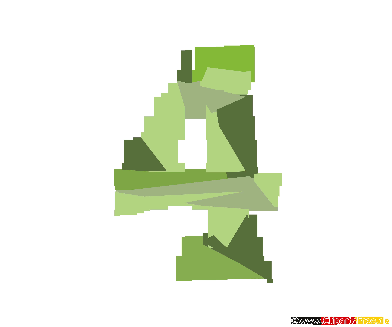 Vorlage Zahl 4 (Vier) Grafik in Hochauflösung