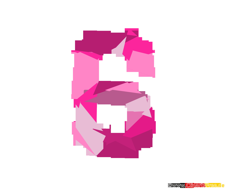 Vorlage Zahl 6 (Sechs) -Illustrationen mit Bunden Zahlen
