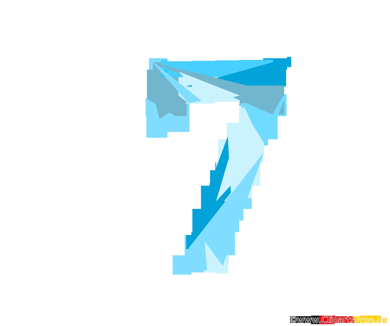 Vorlage Zahl 7 (Sieben) Glückszahl zum Drucken