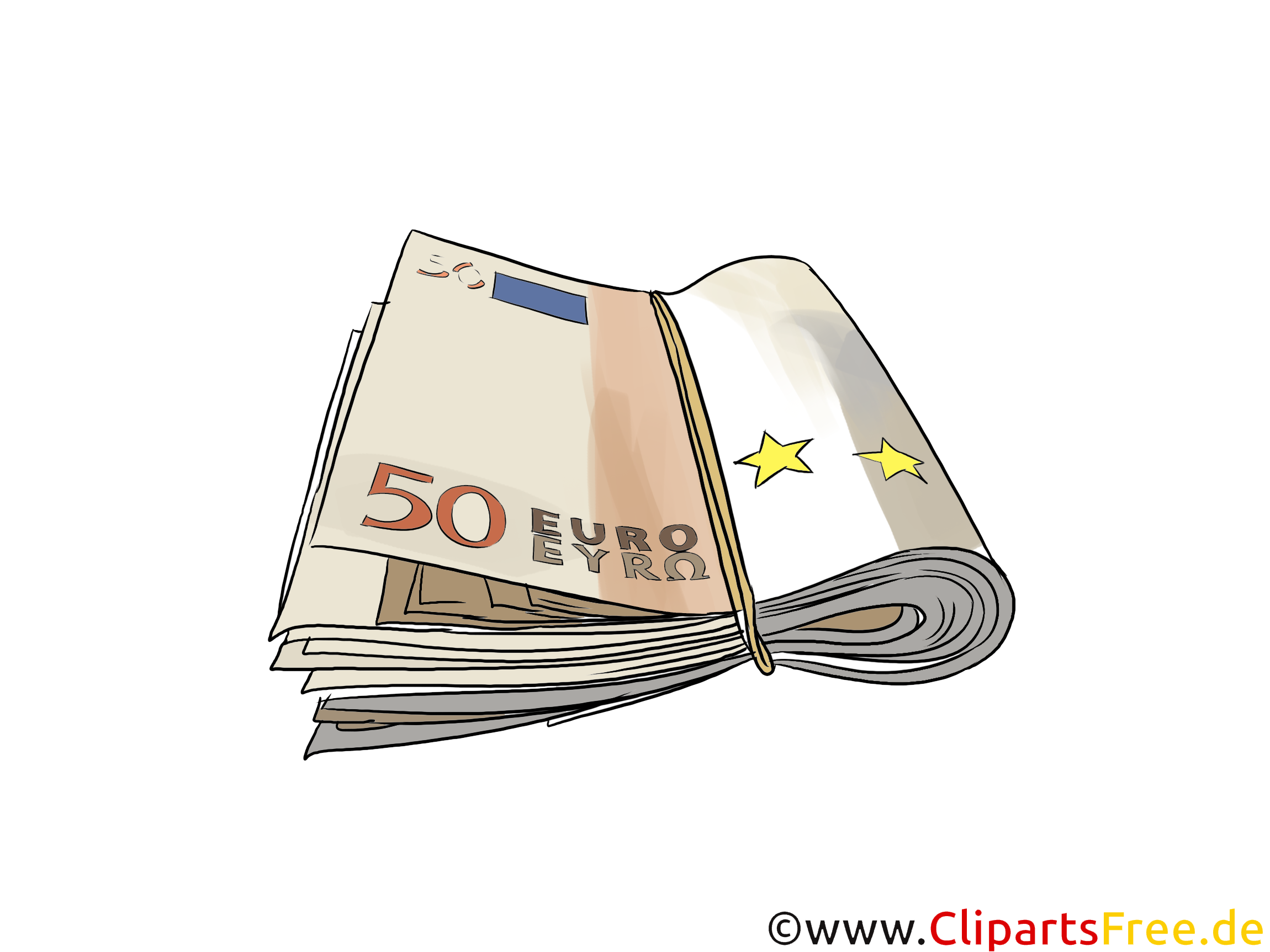 50-Euro- Banknoten unter Gummiband Clipart, Bild, Illustration