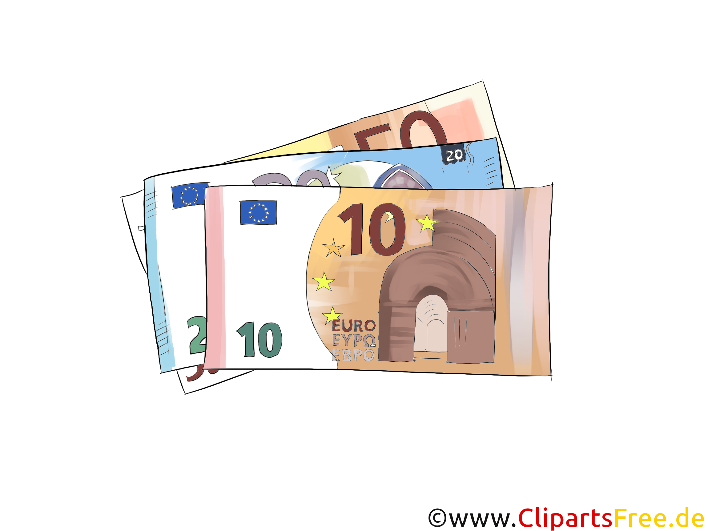 Euroscheine Illustration, Bild, Grafik