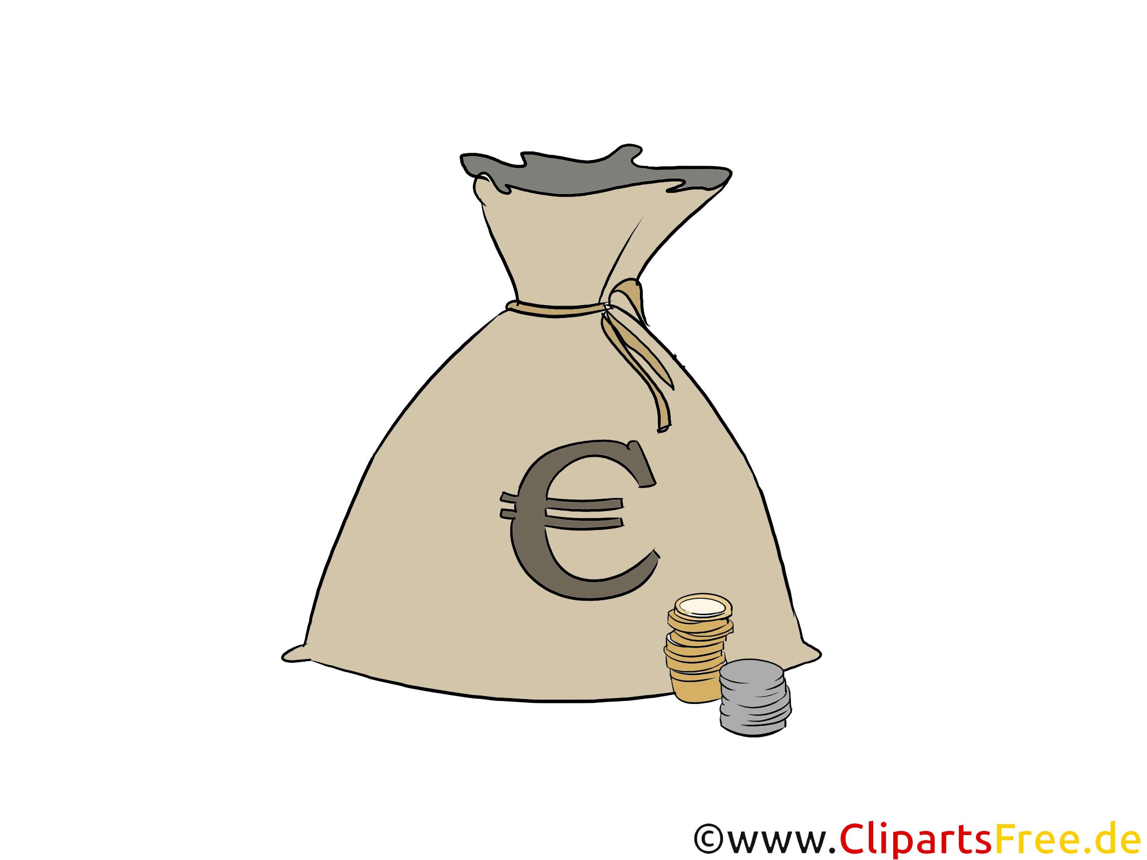 Geldsack mit Eurozeichen Clipart, Grafik, Illustration
