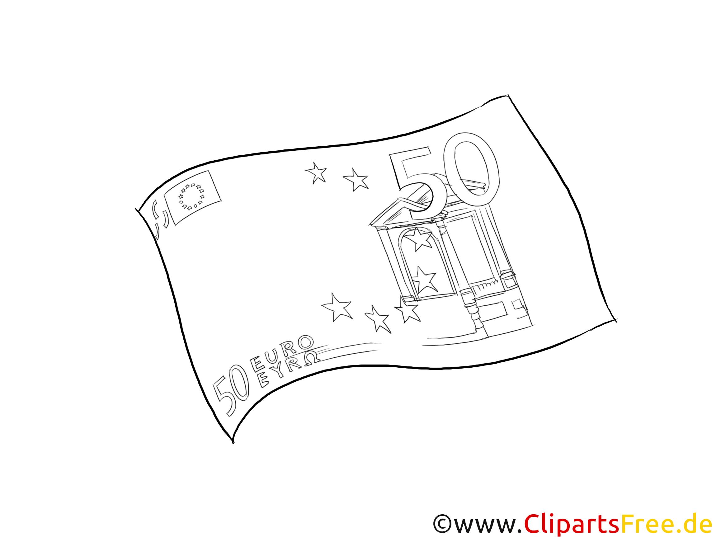 Geldschein Clipart schwarz-weiß