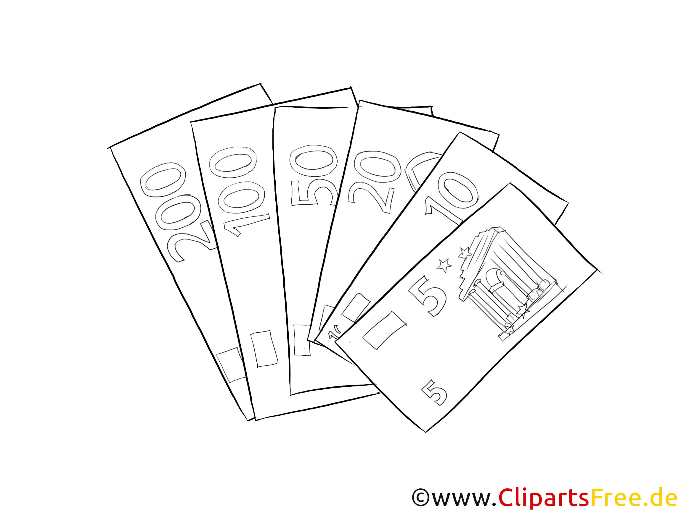 Geldscheine Clipart schwarz-weiß