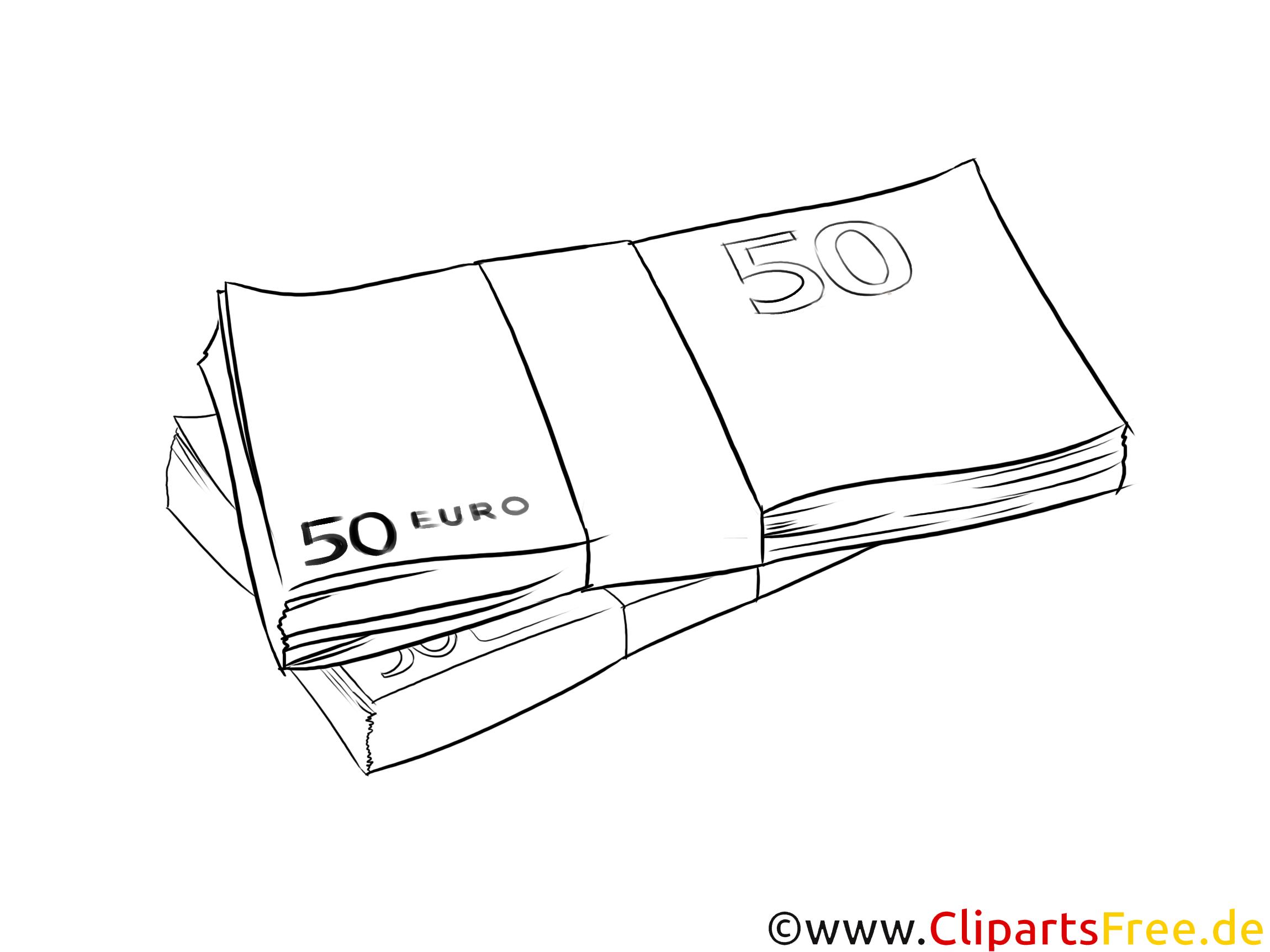 Geldscheine Euro Clipart schwarz weiß