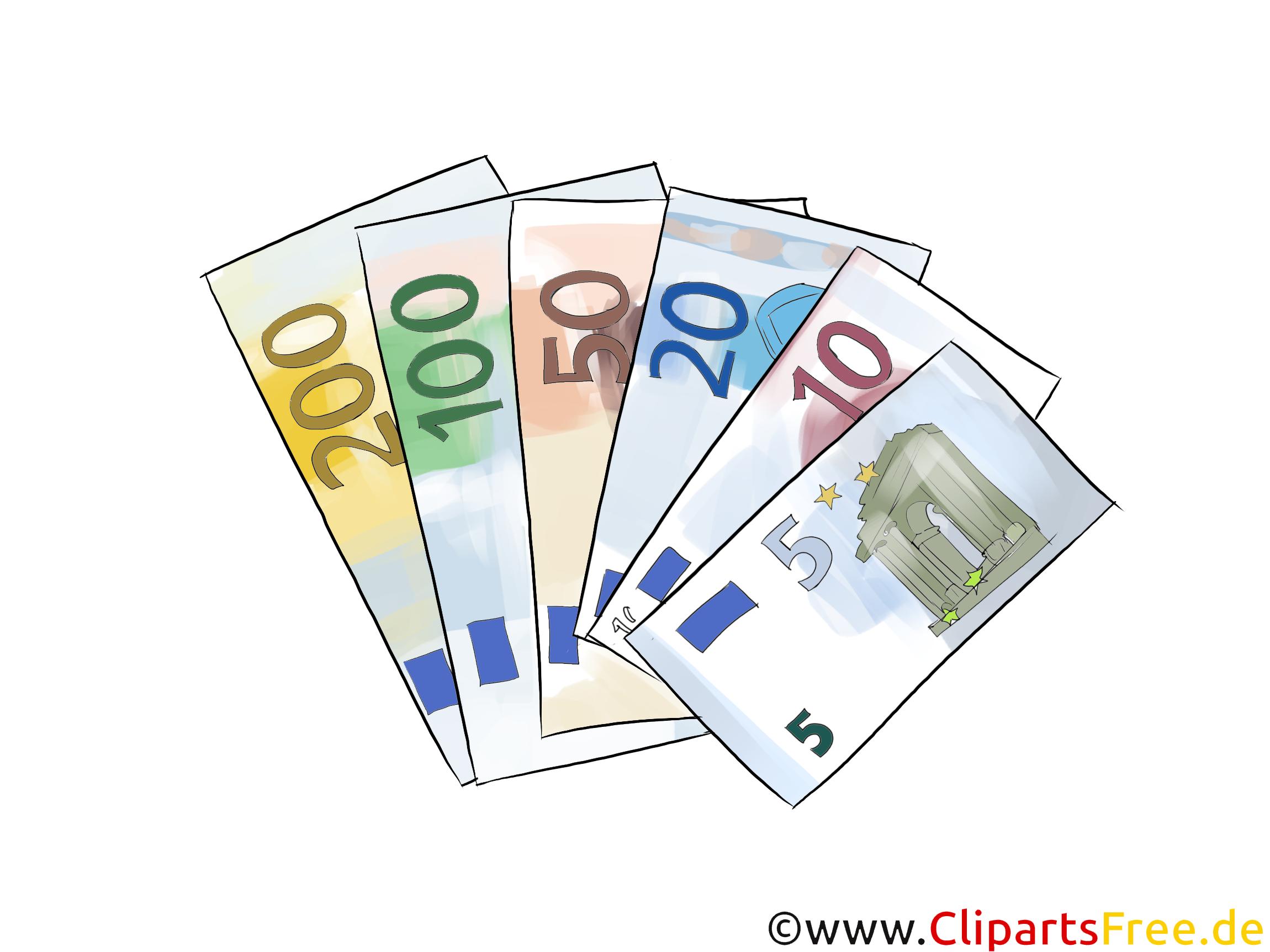 Viele Geldscheine 5, 10, 20, 50, 100, 200 Euro Cliparts