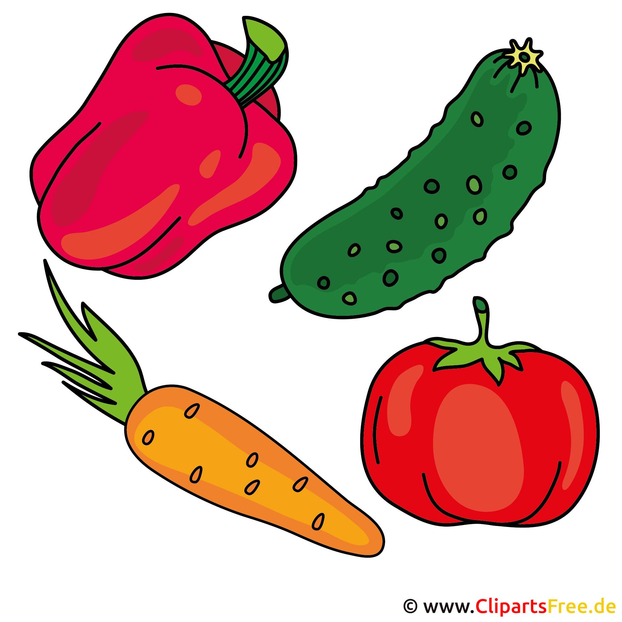 Gemüse Tomate Gurke Paprika Moehre Cliparts