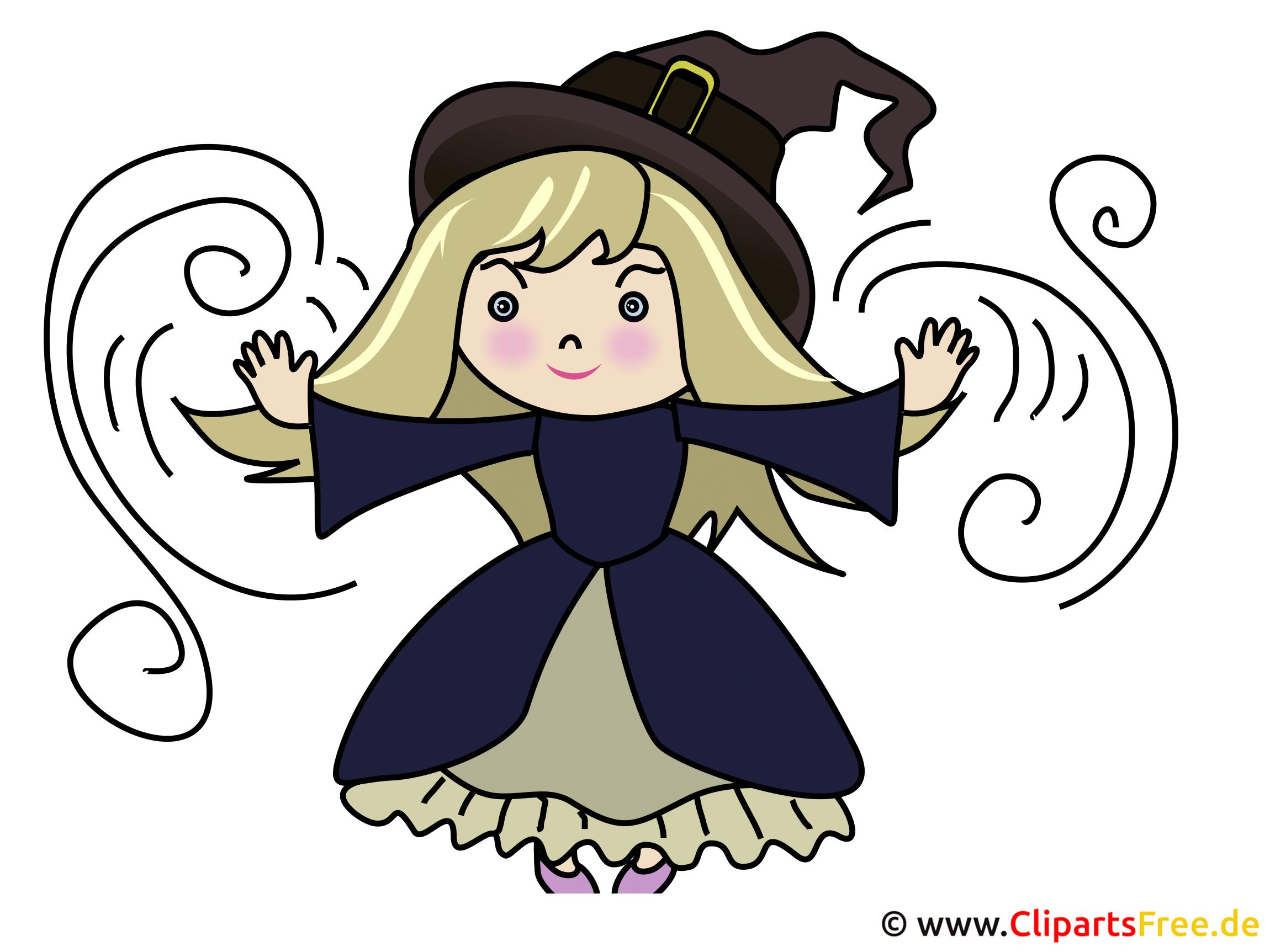 Cartoon Kleine Hexe - Illustration zu Halloween