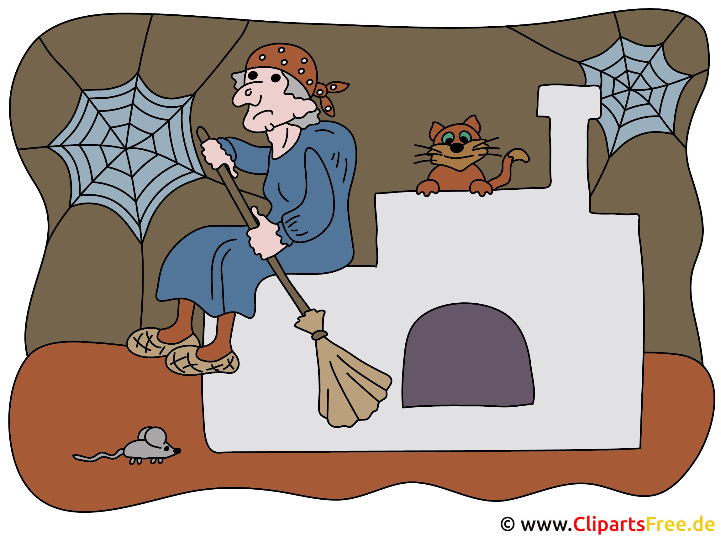 Hexe Cartoon, Illustration zu Märchen