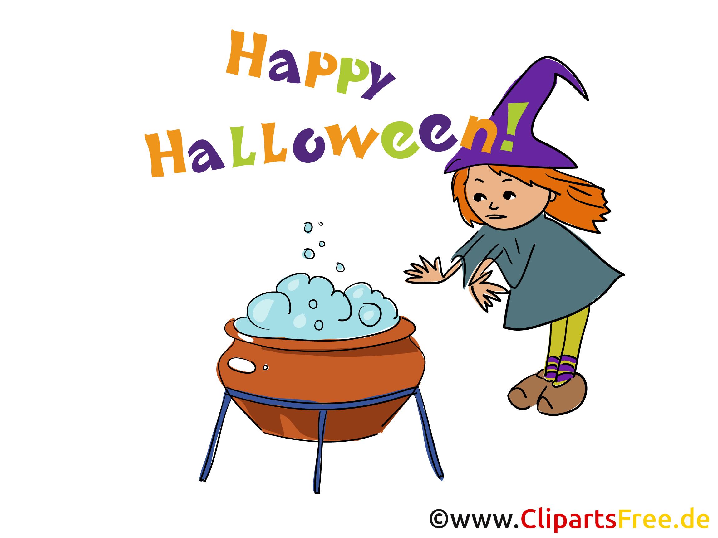 Hexe mit Kessel Clipart, Bild, Cartoon zu Halloween