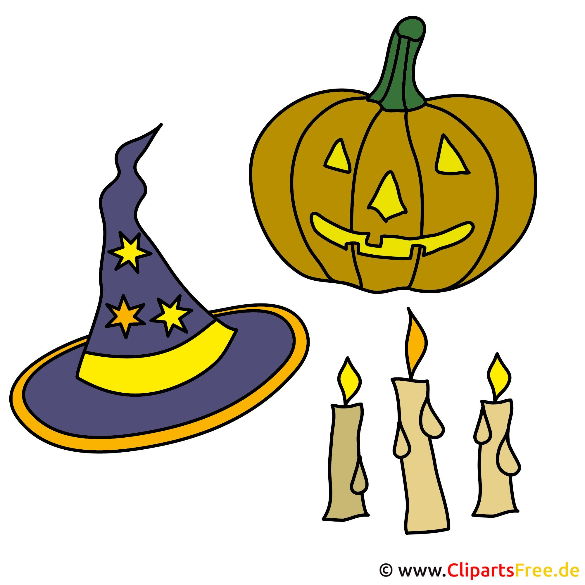 Kurbis, Mütze, Kerzen - Bilder zu Halloween