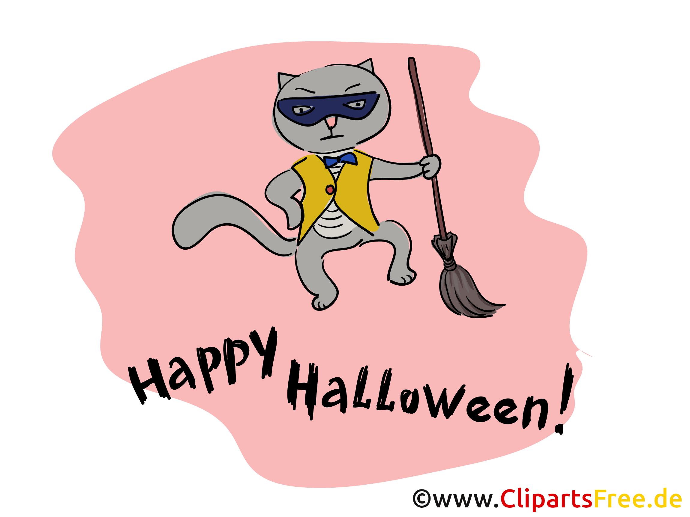 Witziger Kater Clipart, Bild, Cartoon zu Halloween