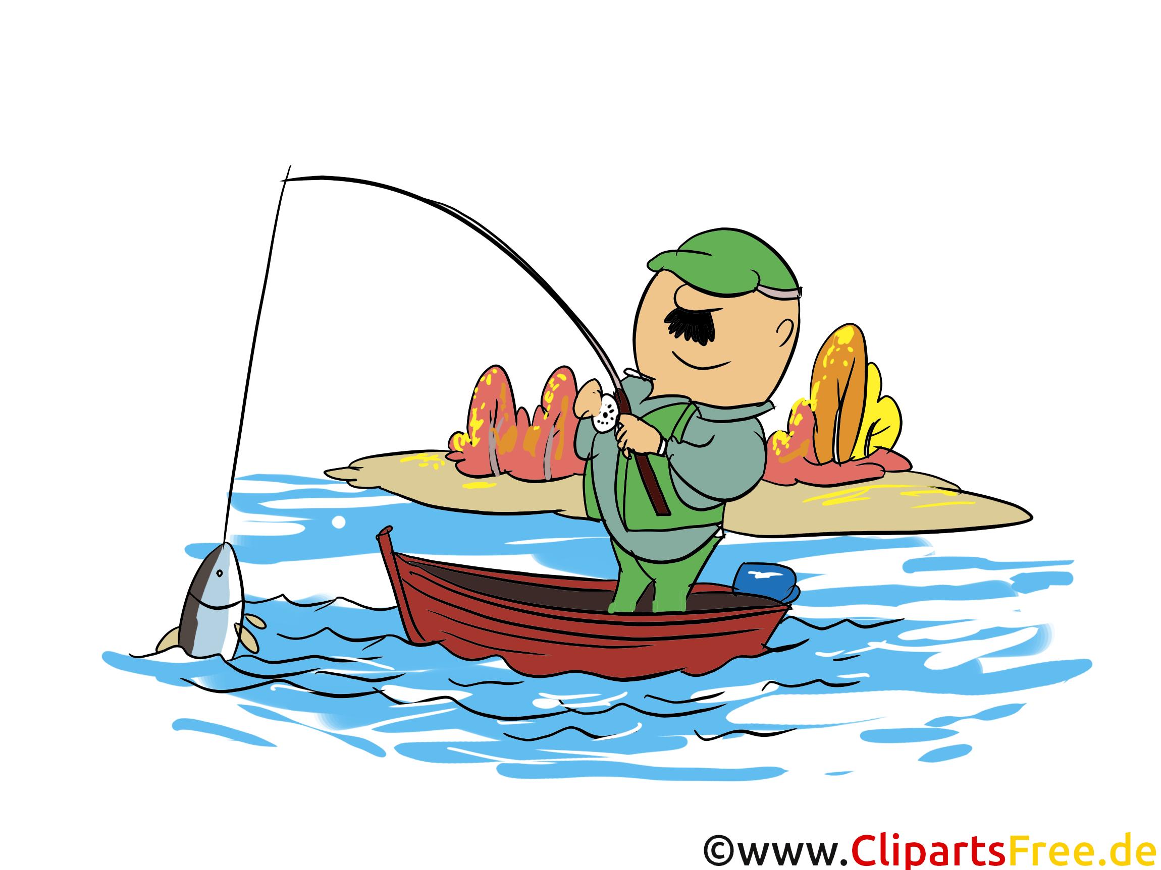 Angeln auf See Clipart, Illustration, Bild, Grafik, Cartoon