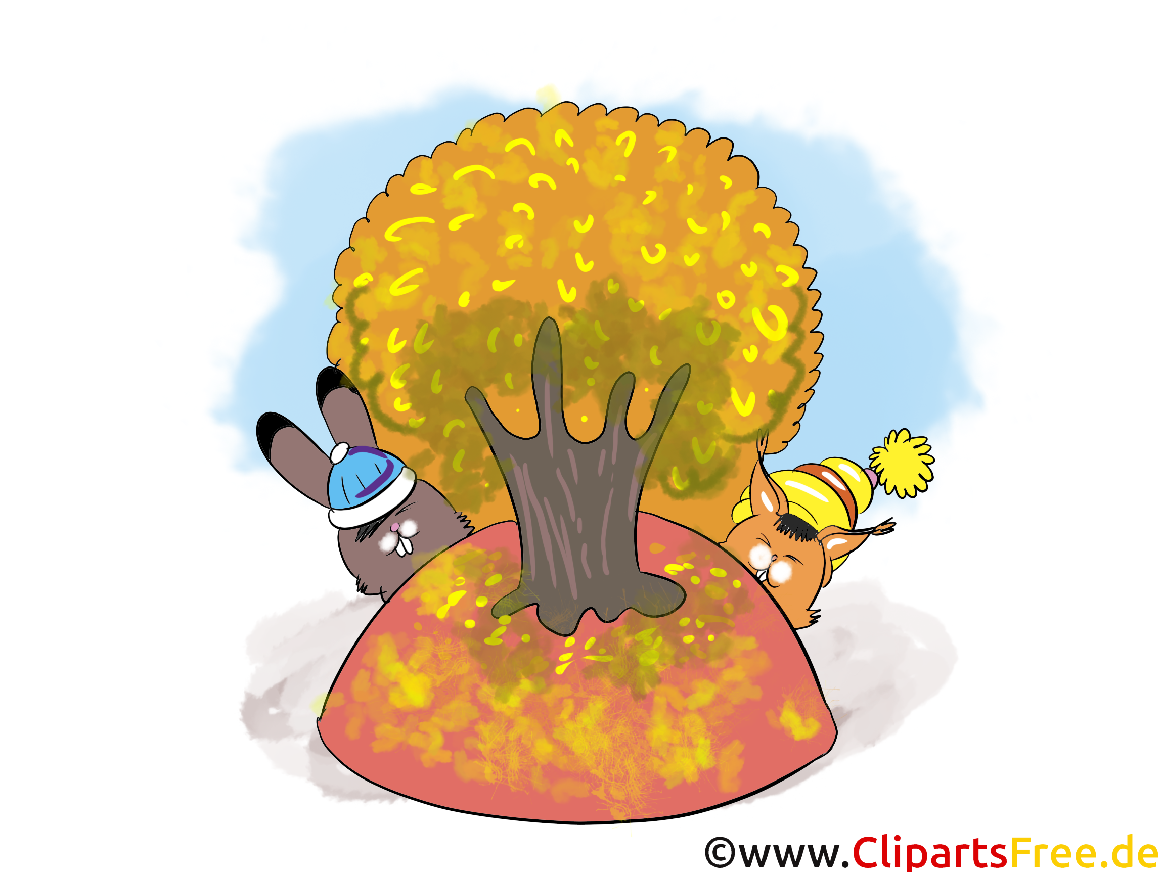 Bilder downloaden Herbst, Baum, Hasen, Blauhimmel