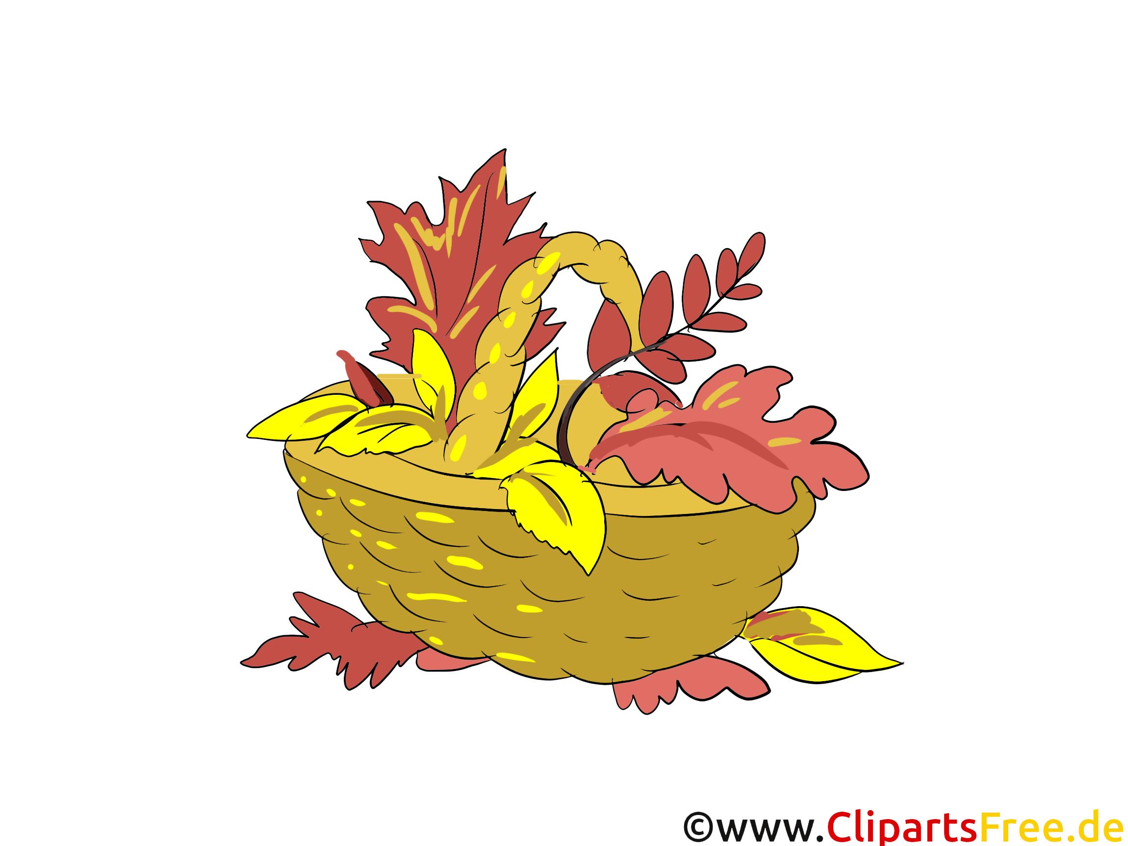 Bilder runterladen kostenlos - Korb mit gelben Blättern im Herbst