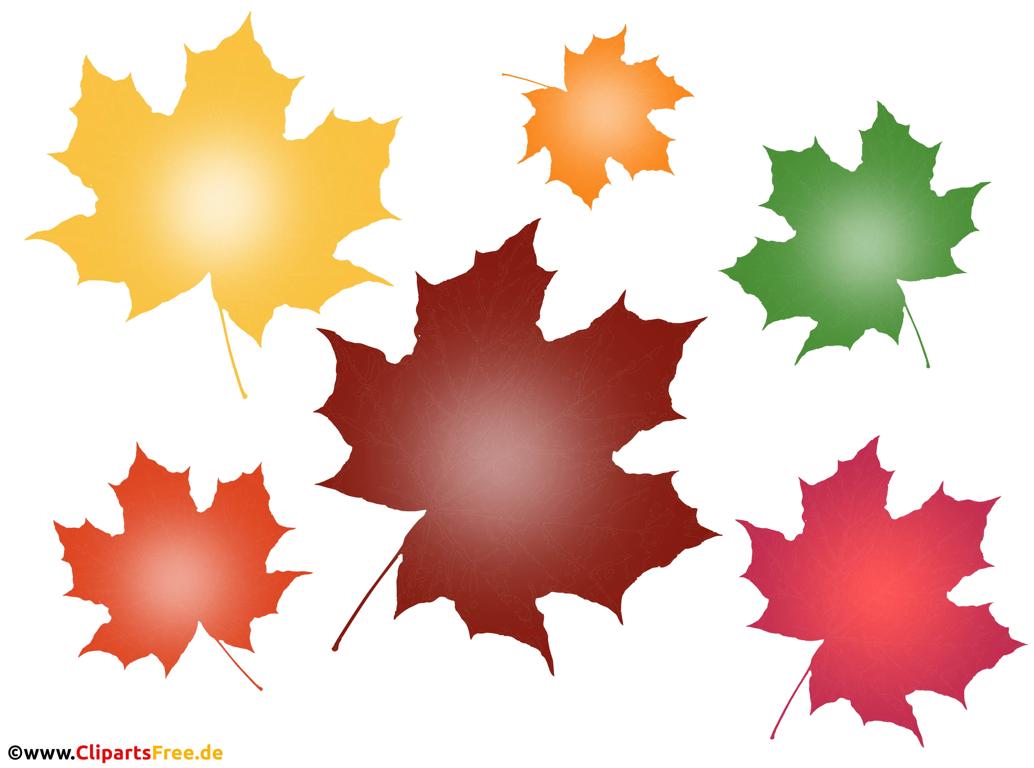 Bunte Baumblätter im Herbst Clipart, Bild, Illustration