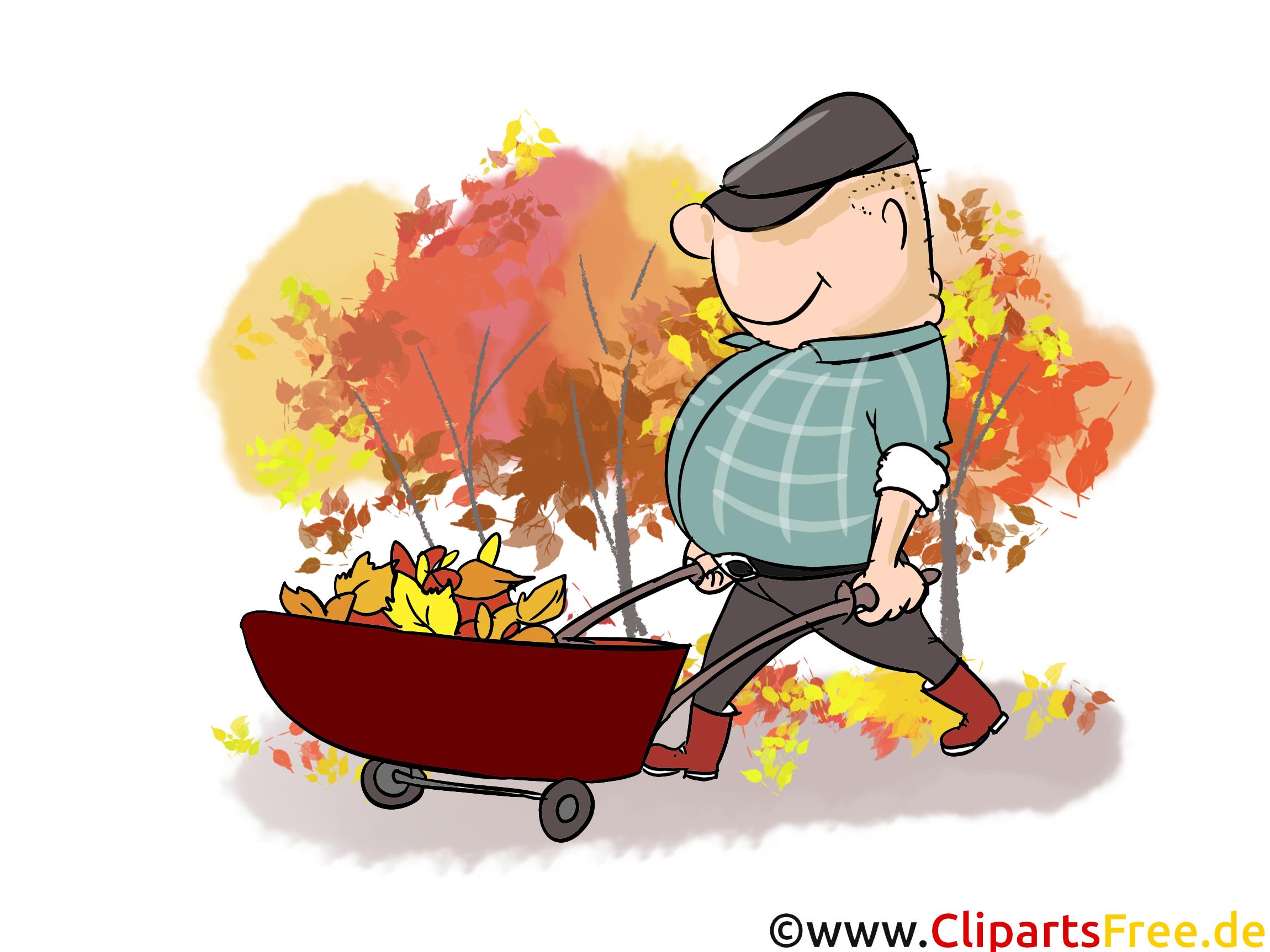 Cartoon Mann mit Schubkarre - Herbst Cliparts, Bilder, Cartoons, Comics