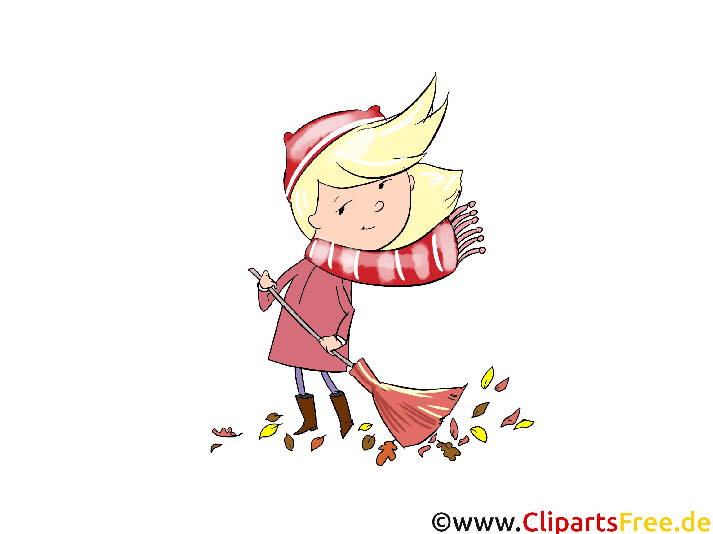 Grafik kostenlos Mädchen mit Besen, Wind, Herbst