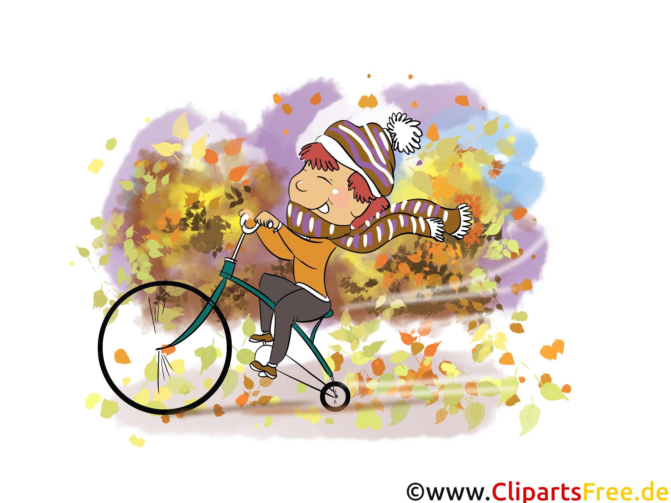 Herbst Bilder kostenlos - Junge fährt Fahrrad im Park