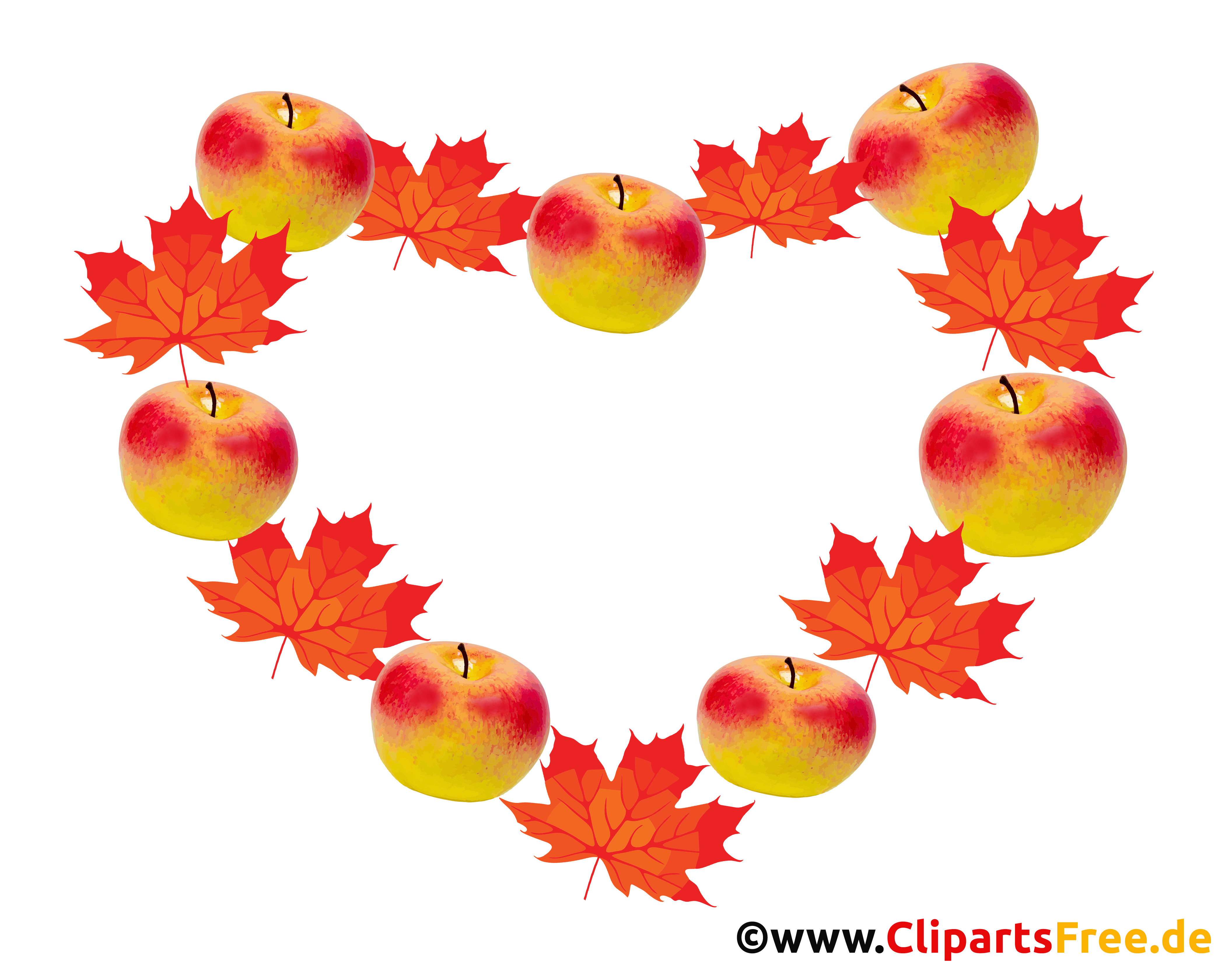 Äpfeln und gelbe Blätter in einem Herbst-Kranz PNG Clipart