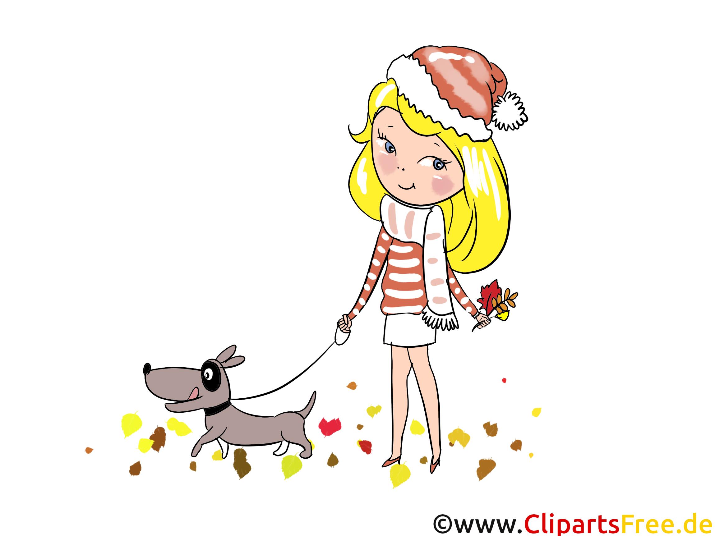 Illustration Mädchen spaziert mit einem Hund