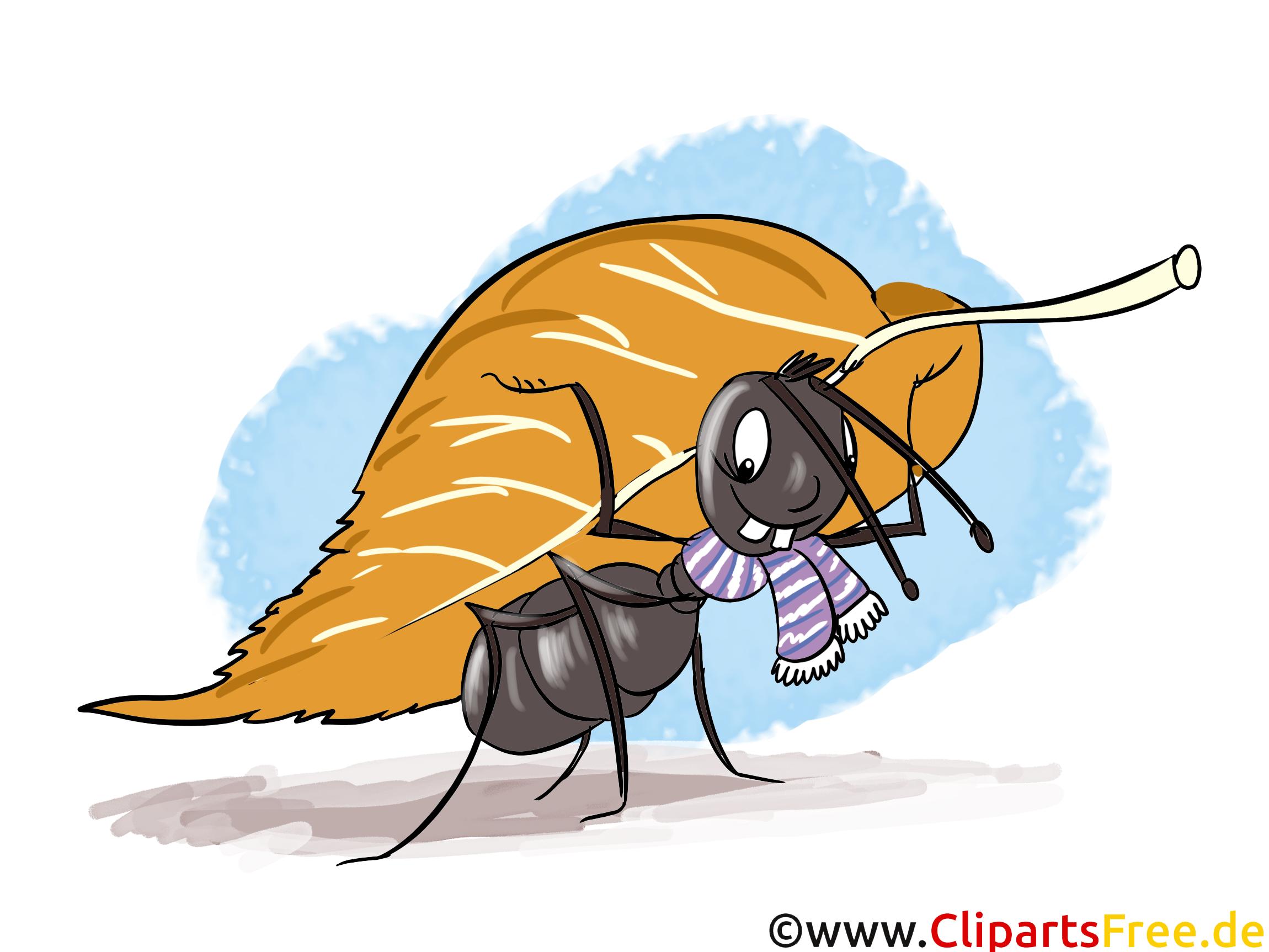 Kinderbuchillustration Ameise mit Baumblatt