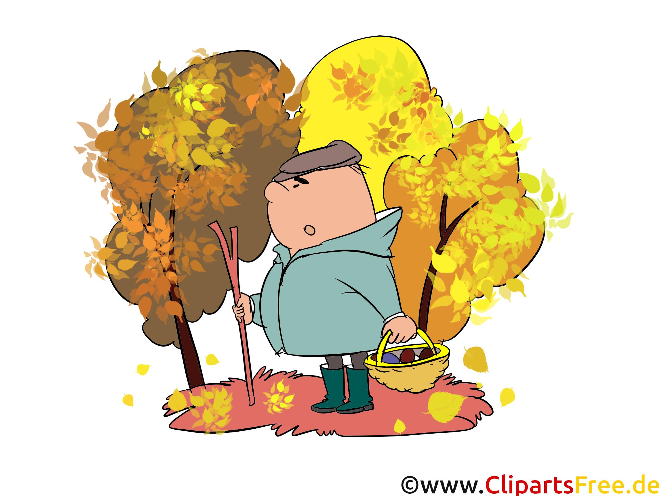 Kostenlose Grafiken Herbst, Pilze sammeln im Wald