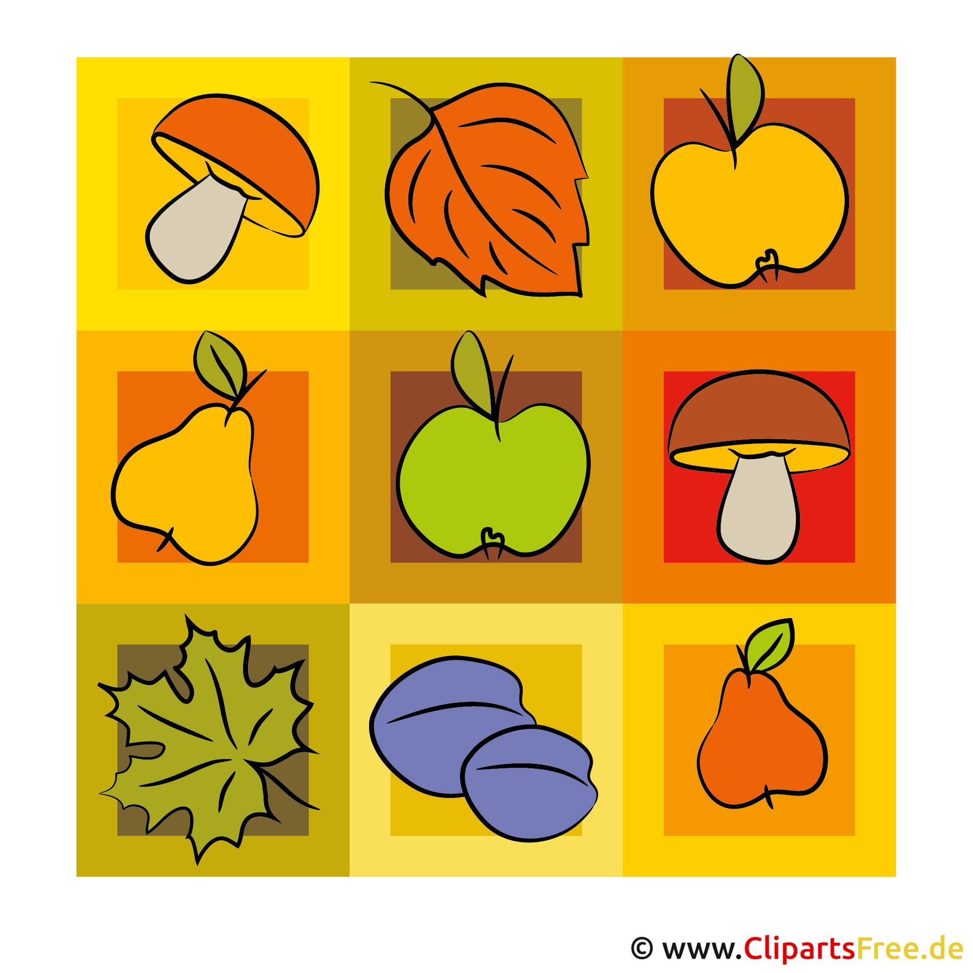 Pilze, Birnen, Äpfel Clip-Art - Herbst Bild gratis