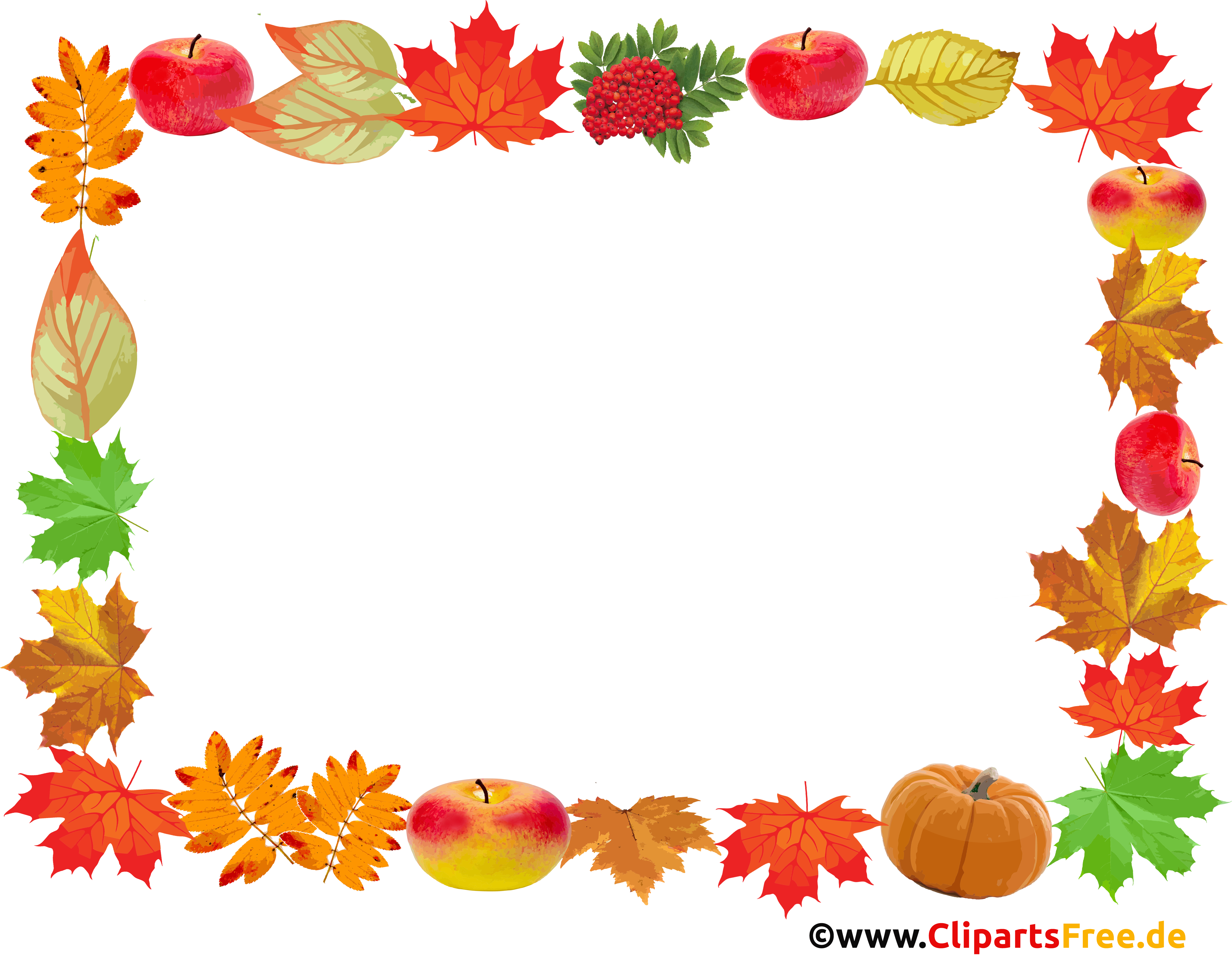 Ahornblätter, Kürbisse, Äpfel - Rahmen für Fotos zum Thema Herbst