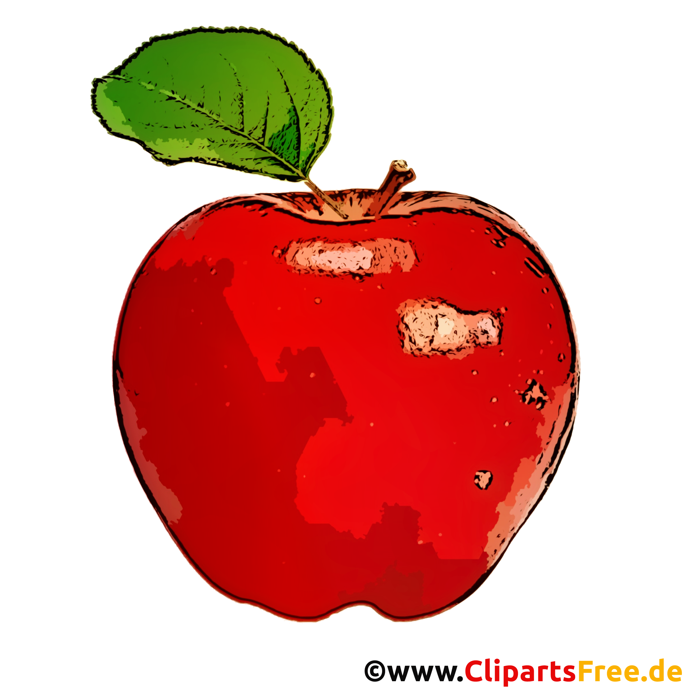 Roter Apfel mit grünen Blättern Clipart, Bild, Cartoon
