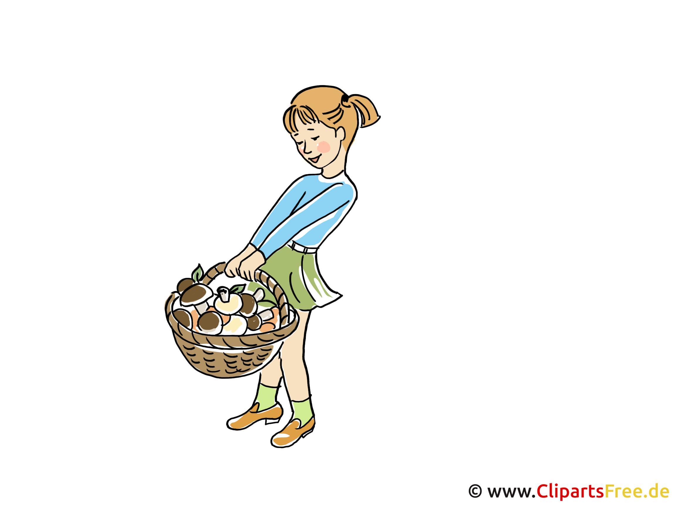 Mädchen mit Korb Bild - Wallpaper Herbstbilder