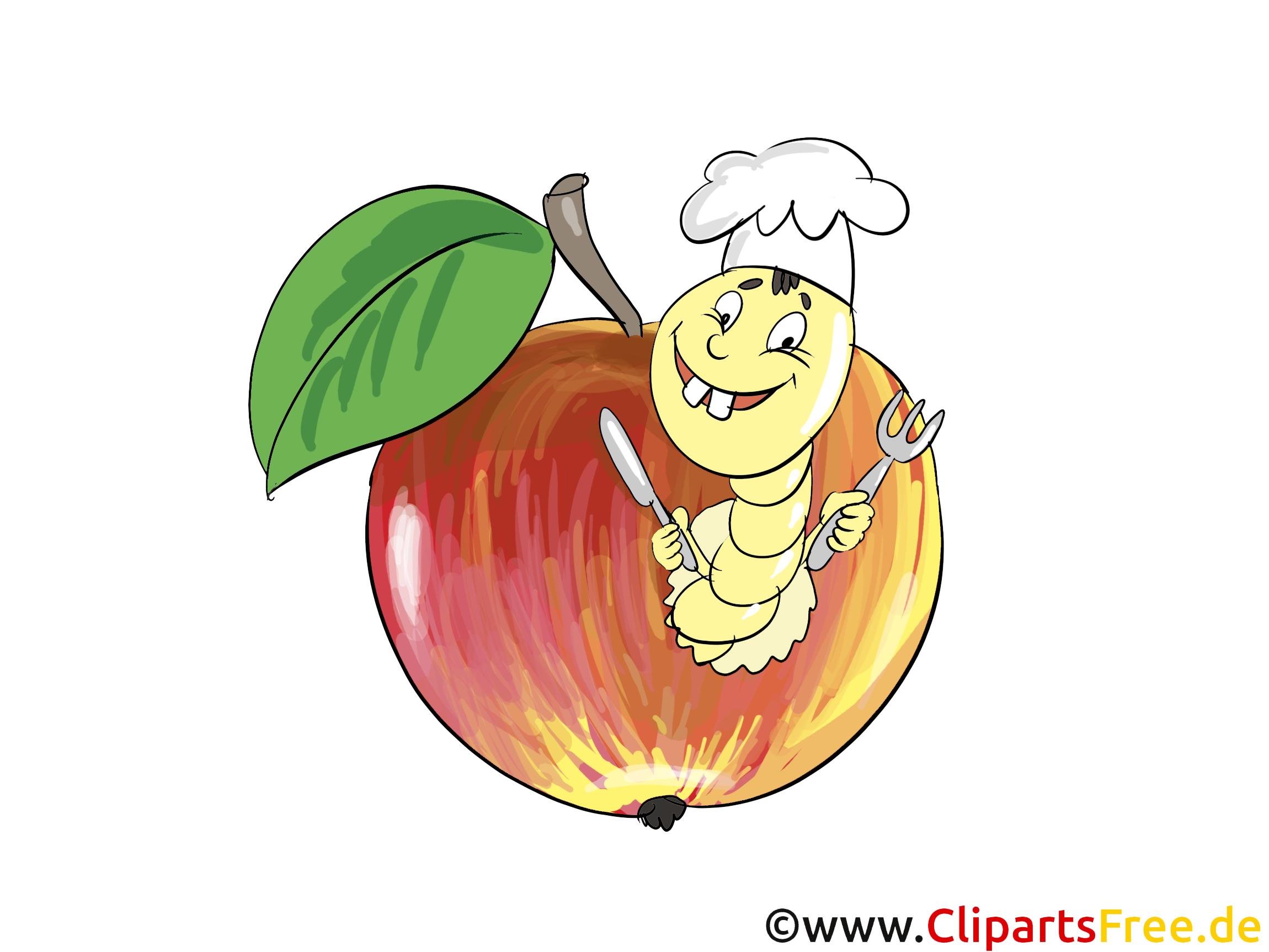 Wurm im Apfel Clipart, Comic, Bild, Illustration