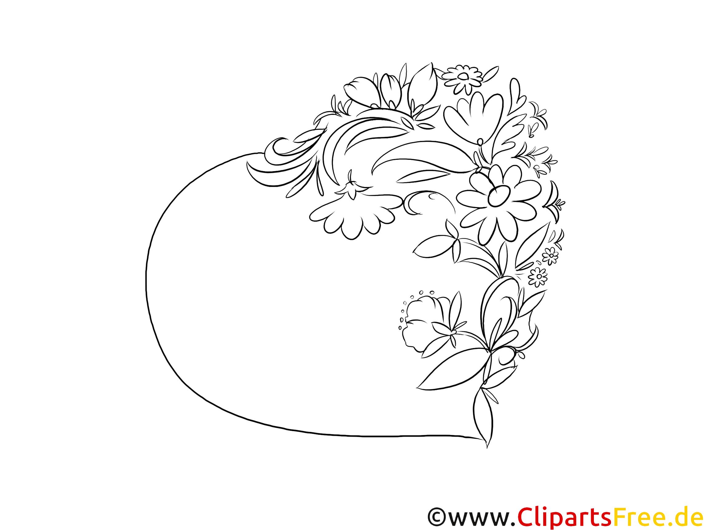 Blumenranken am Herzen Zeichnung, Malbild, Illustration schwarz-weiß