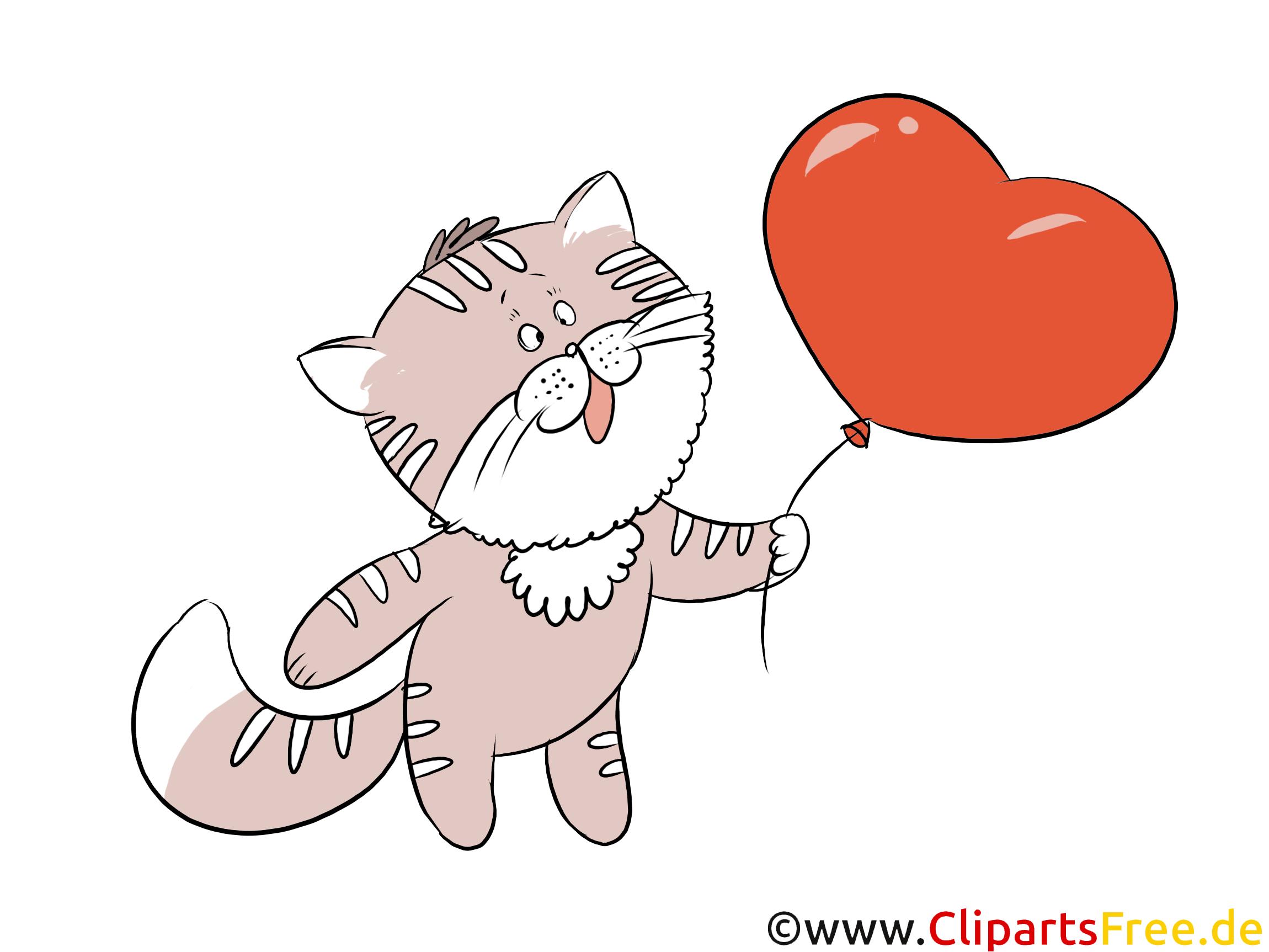 Clipart Herz, Luftballon, Katze kostenlos