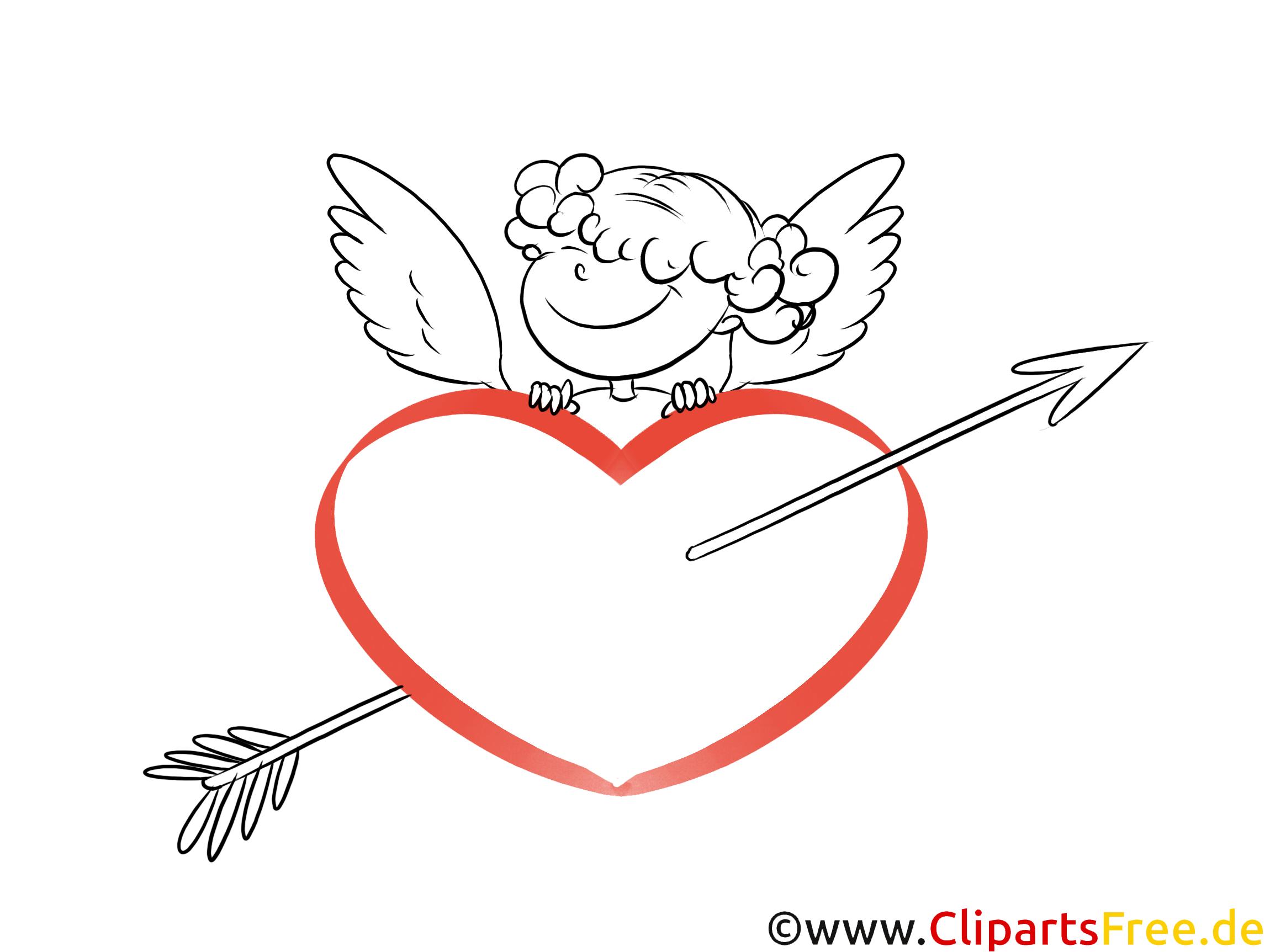 Cupido mit Herz, Bogen, Pfeil Clipart