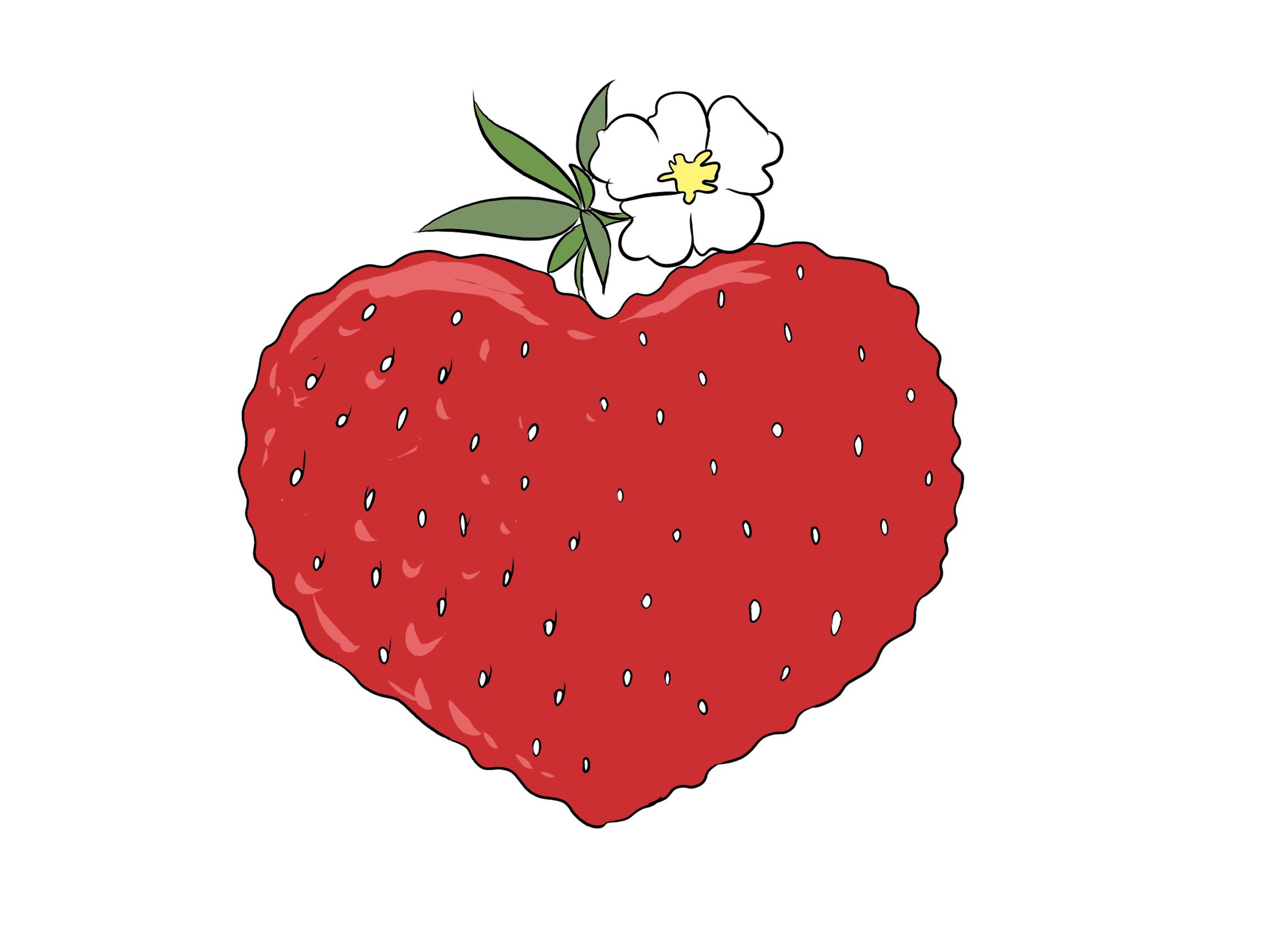 Herz in Form einer Erdbeere Clipart, Bild, Grafik